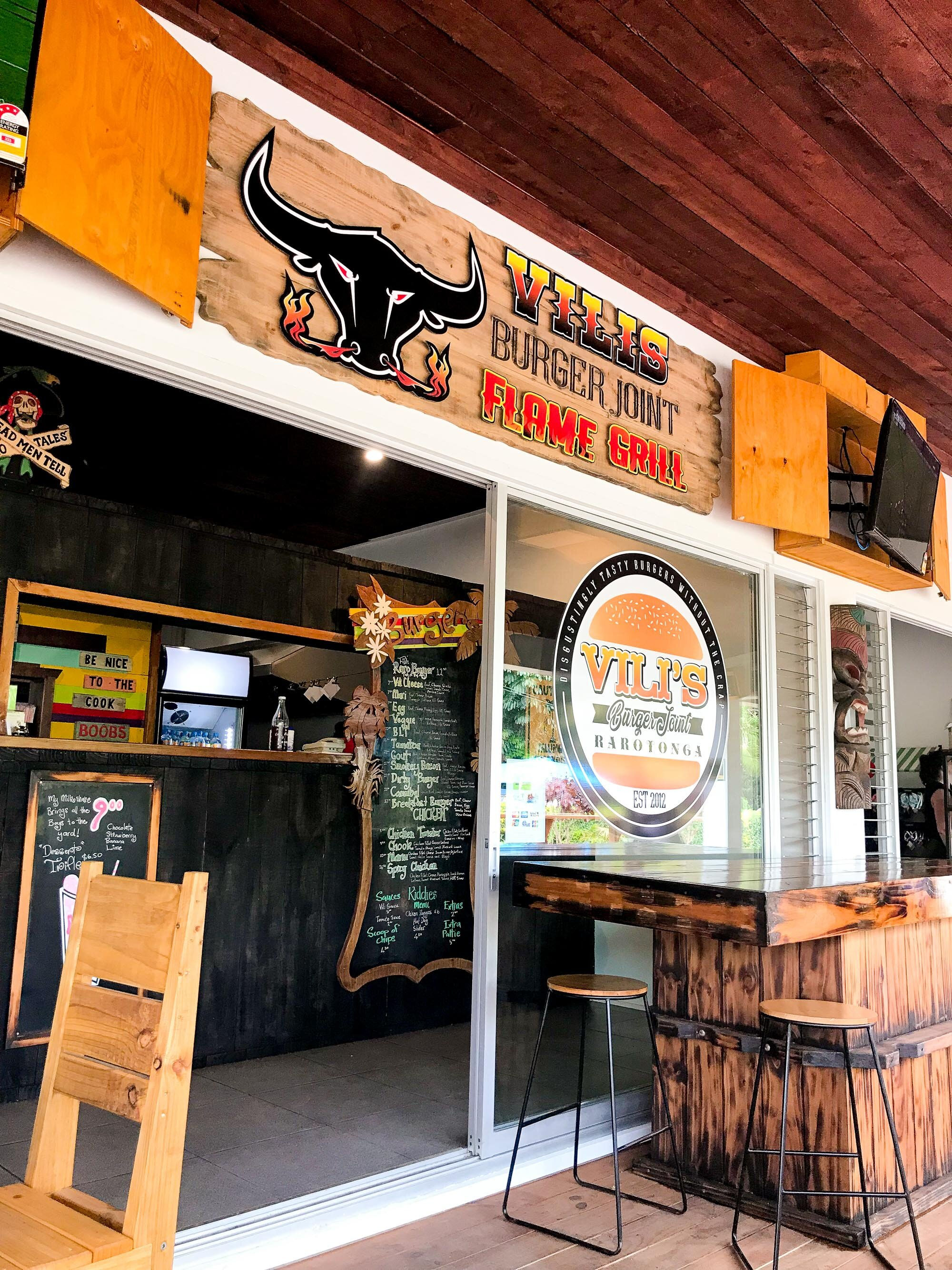 Vili's Burger Joint, Muri, Rarotonga, Cook Islands — Cotton Cashmere Cat Hair