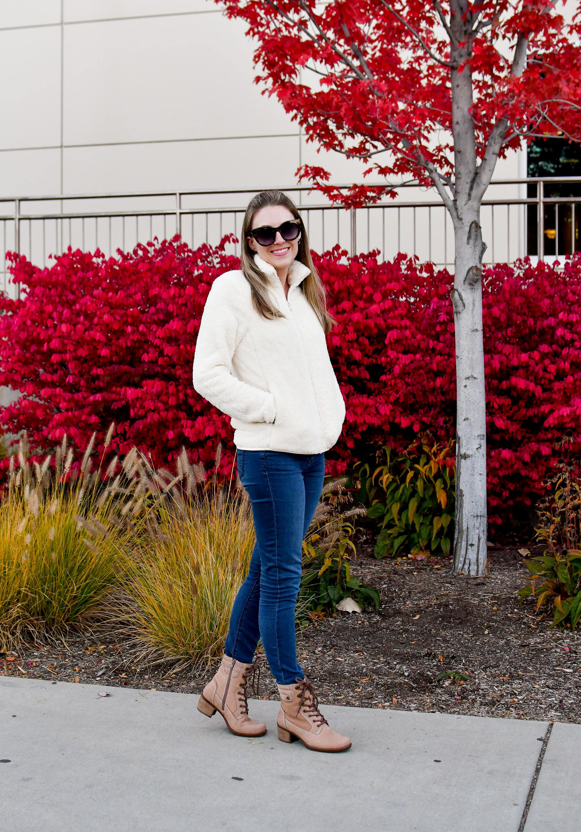 Earth Denali Anchor boot casual fall outfit with fuzzy fleece jacket — Cotton Cashmere Cat Hair