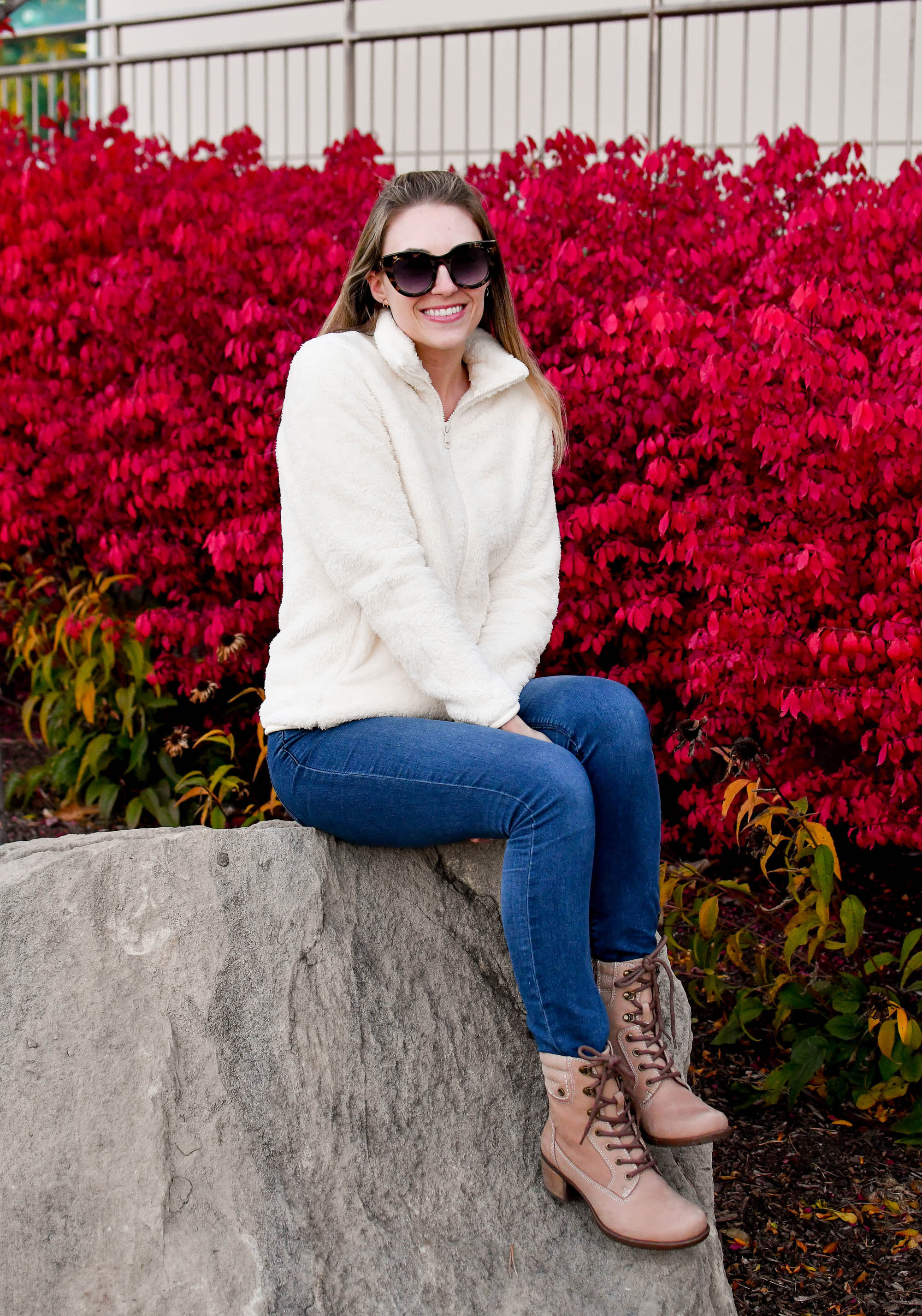 Casual fall outfit with fleece jacket and Earth lace-up boot — Cotton Cashmere Cat Hair