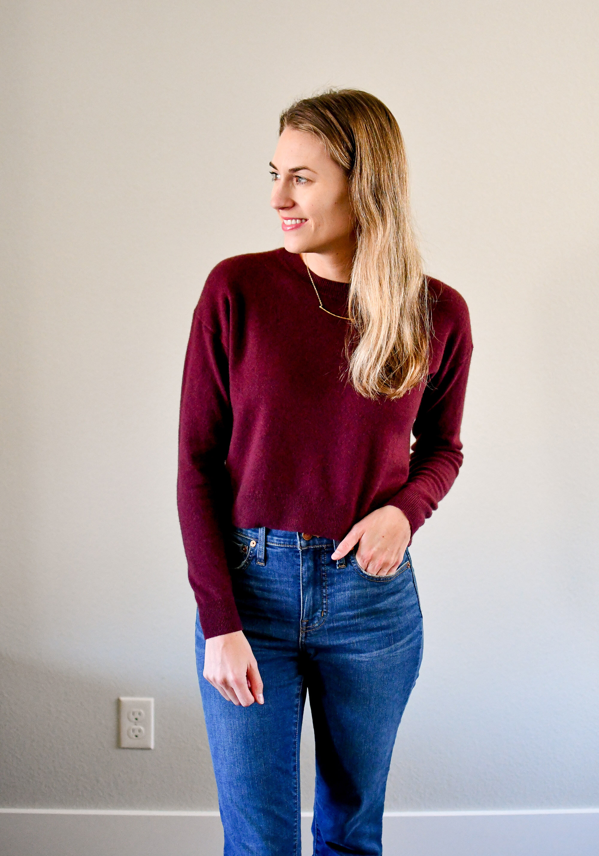 Burgundy cropped cashmere sweater fall outfit — Cotton Cashmere Cat Hair