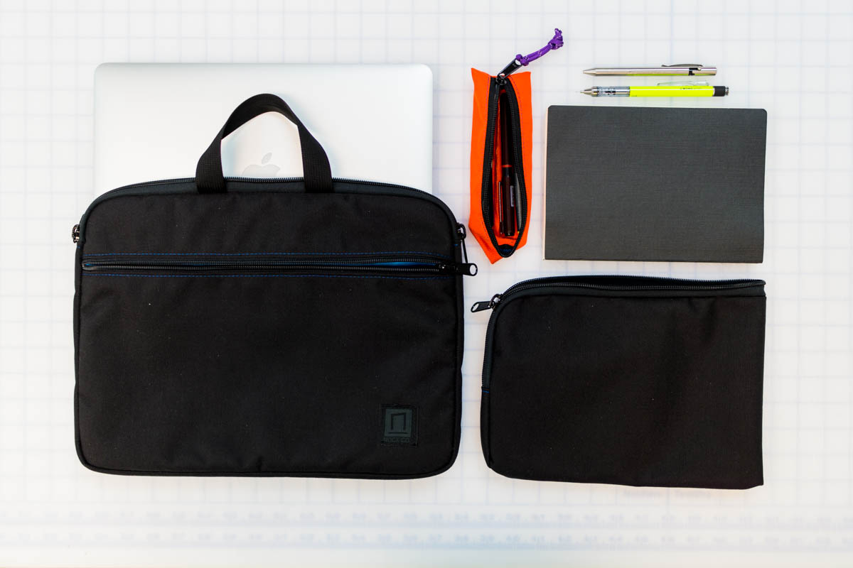 """Most of my EDC: 13"""" MacBook Air, Nock Co. Chimneytop with some pens, Tombow Pencil, Maxmadco Bolt, Nanami A5 Seven Seas Writer (not shown: iPad Mini 2, Phone, Camera Gear/Bag)."""