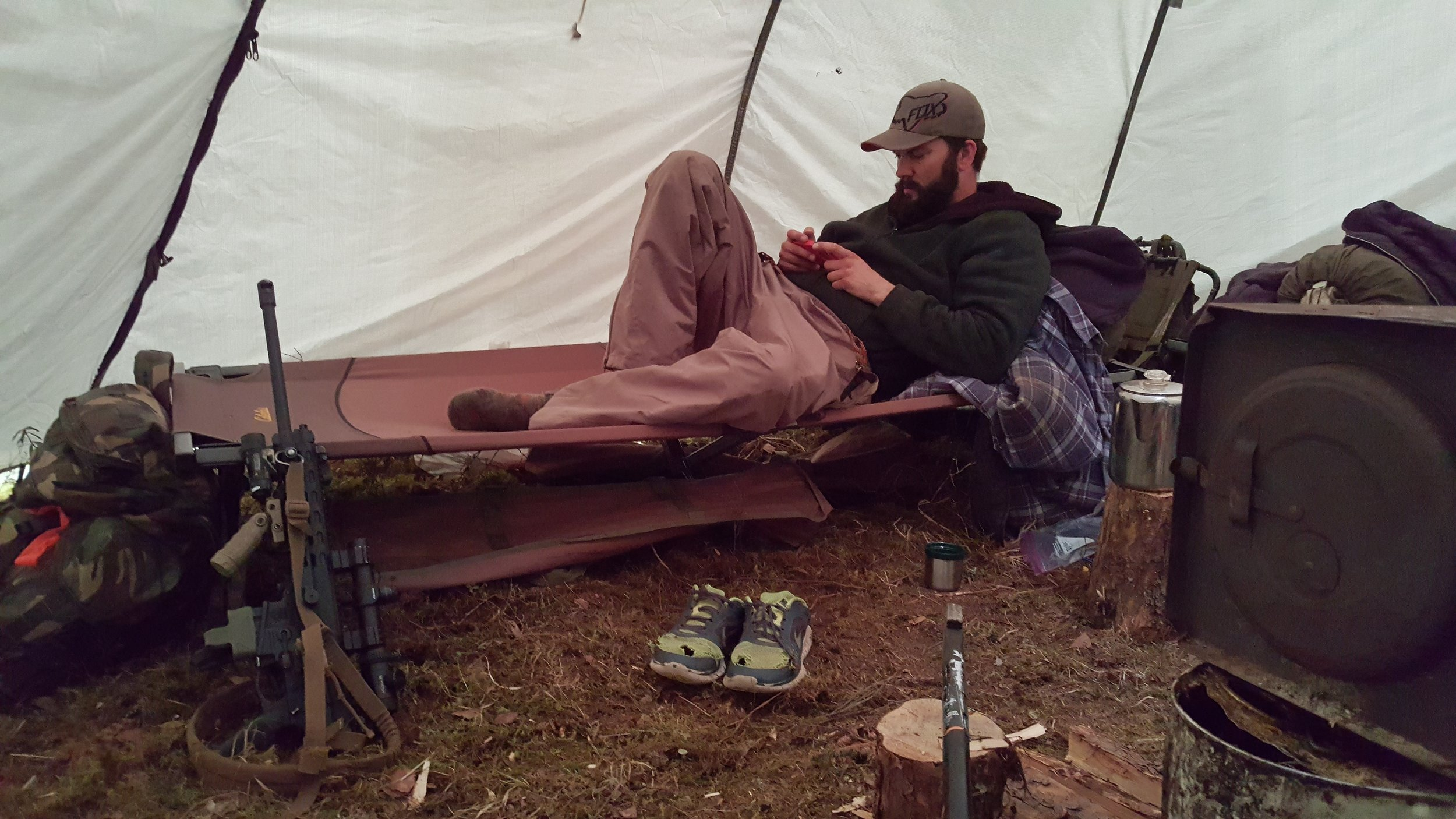 A 12 man tipi has plenty of room, and is light relatively light weight.
