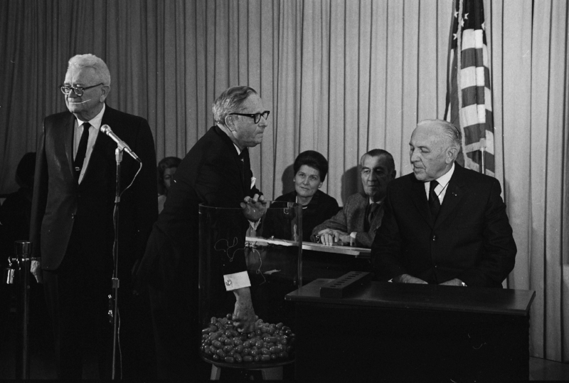 Representative Alexander Pirnie (R-NY) drawing the first number in the 1969 draft lottery. (Wikimedia Commons)