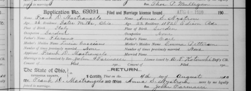 The marriage record for my great-grandparents.