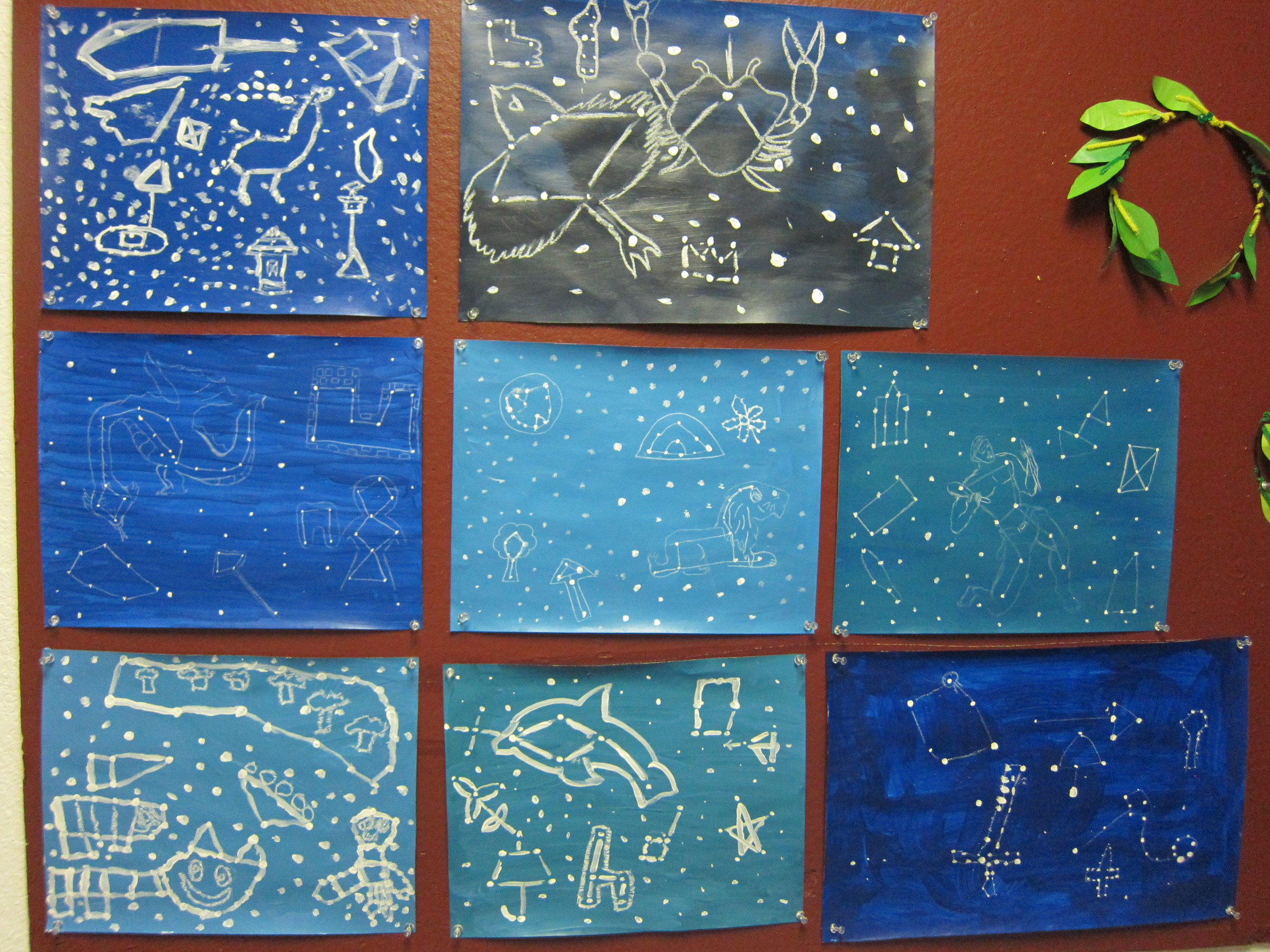 Ms. Rosaline's 3-5th graders design their own constellations and laurel leaves (September 2015)