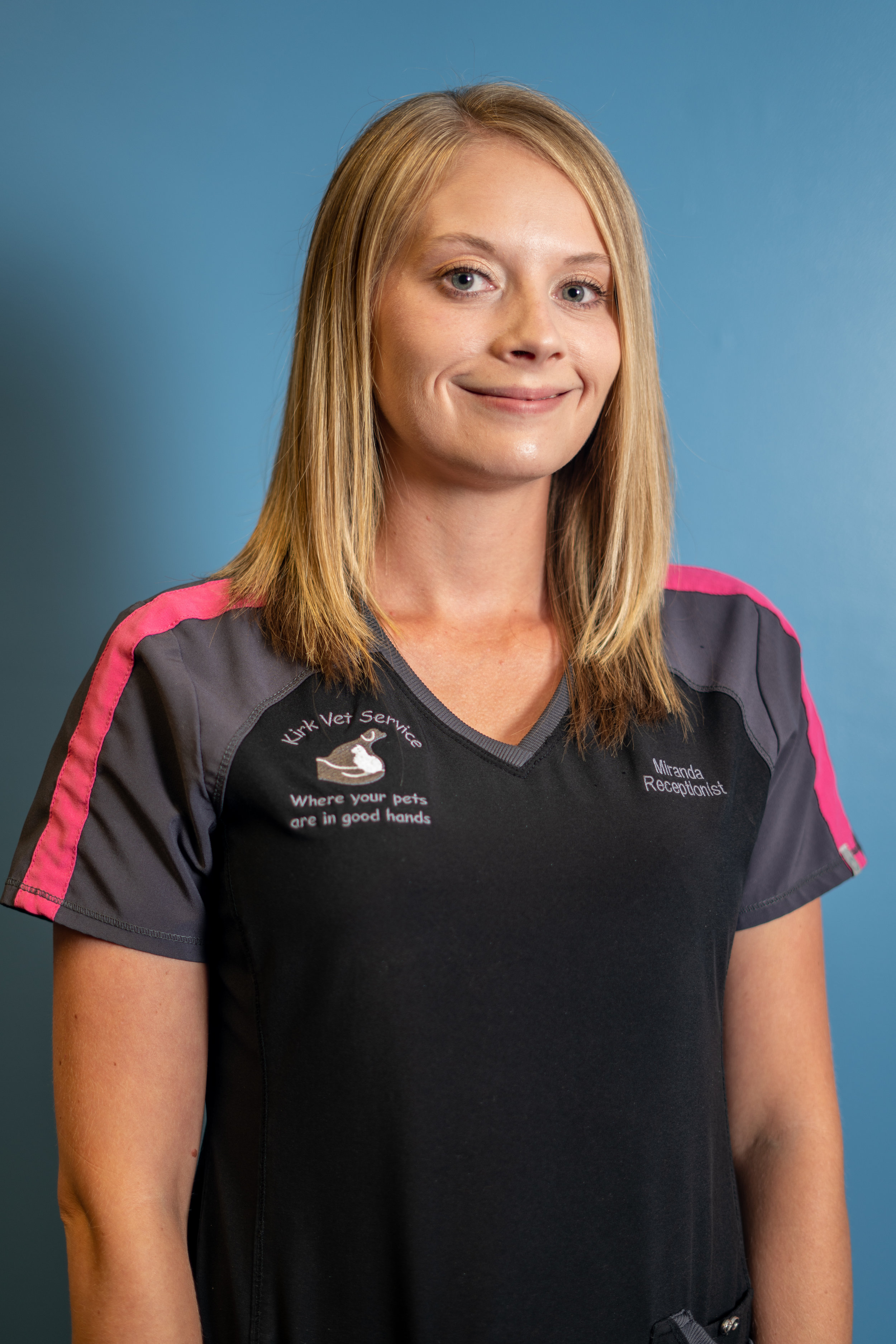 Miranda Flannery - RECEPTIONISTMiranda has been with the team for six years and is usually one of the first faces you see whenever you visit us here at Kirk Veterinary Service. She is from Paoli. Miranda and her husband, Devan, have two sons, Garrett, age 4 and Griffin,age 1.