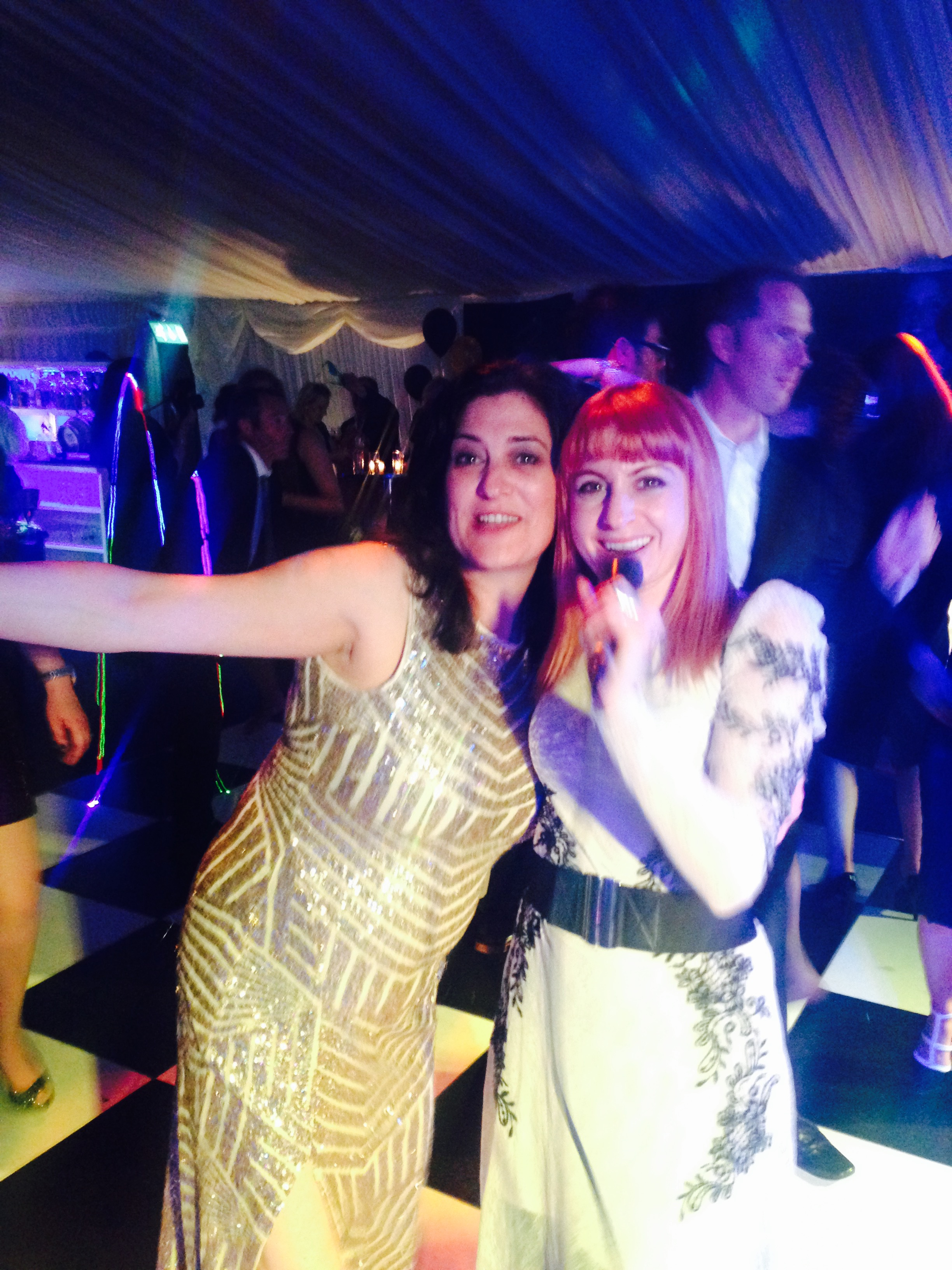 Hannah singing with Elisa on the dance floor! 40th Birthday Party in Kent