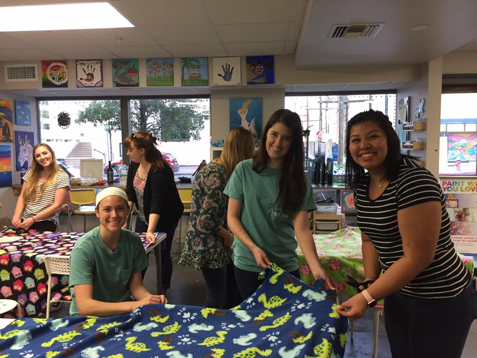 - Clay Cup Studios is the perfect place to gather. That being said we love to have local groups and clubs like this group of students from UTMB making blankets for a local children's hospital.