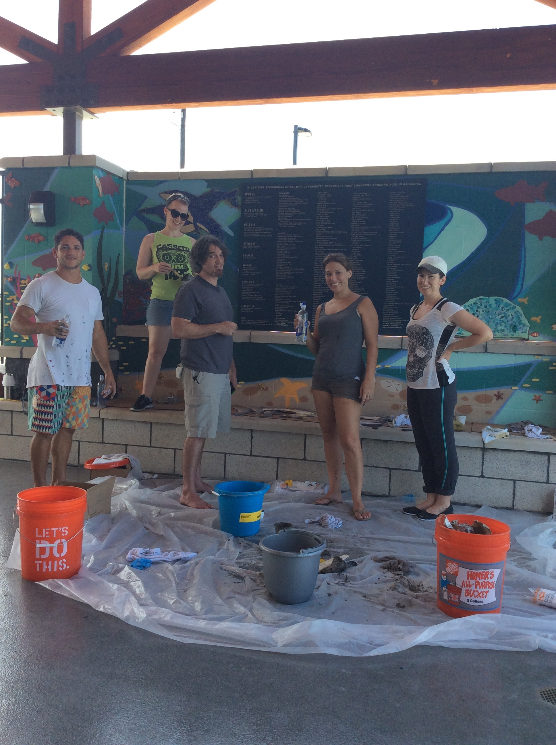 - We loved being able to donate our time to create this awesome donor wall for the new community pool! Mary Ruth worked round the clock to create custom ceramic fish, Gabriel painted an amazing backdrop, Amy created custom glass pieces and in the end our Clay Cup team along with Christina Ebert, Sabrina Stachowski and Clark Duhon pulled this fun and unique mural together. If you are looking for something similar, just reach out. We love our community!