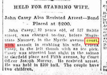 From the Sept. 13, 1905 Brooklyn Daily Eagle - John Casey was arrested for stabbing his wife Celena.