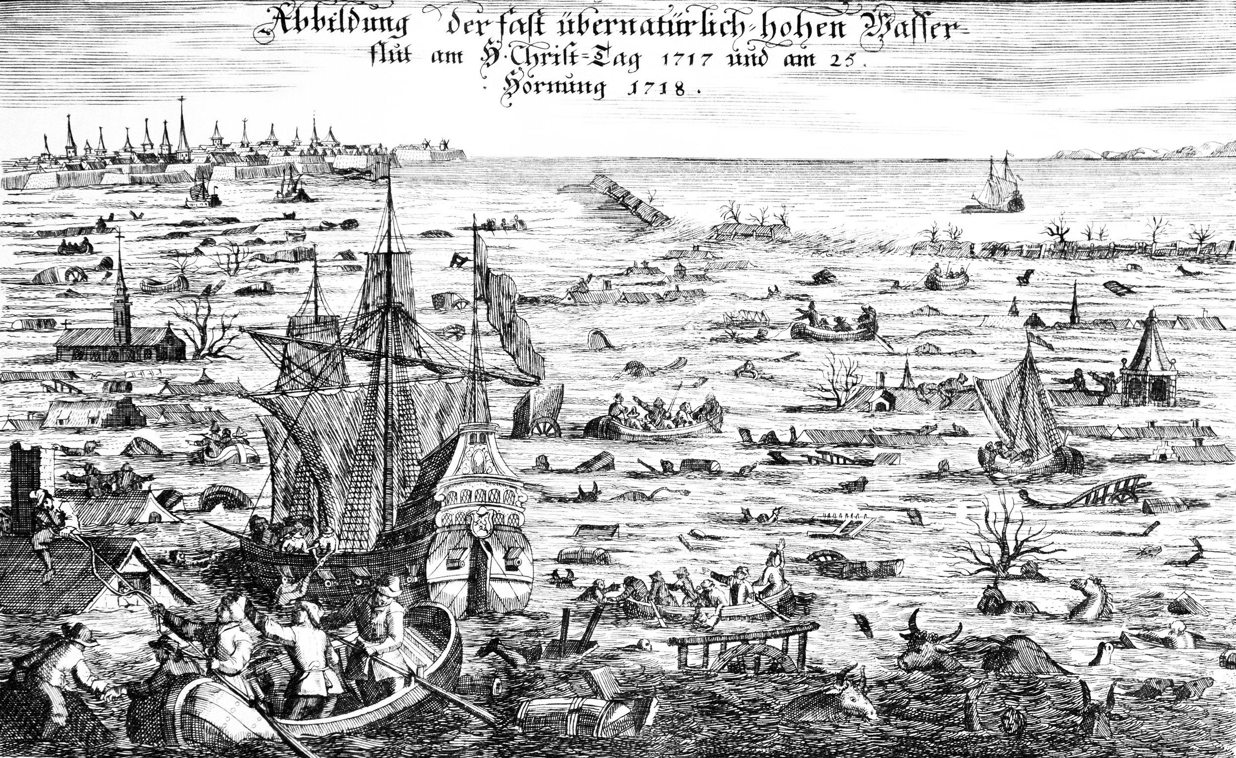 Unknown - Copper Engraving  Abbildung der fast übernatürlich-hohen Wasserflut am H(eiligen) Christ-Tag 1717 und am 25. Hornung (= Februar)