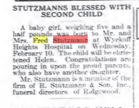 Birth announcement for Helen Stutzmann in the Feb. 19, 1932 Ridgewood Times - she weighed five and a half pounds.