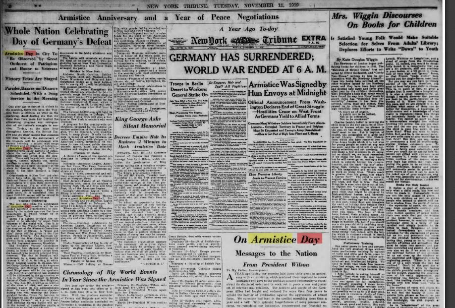 From the New York Tribune, November 11, 1919 (image courtesy of www.fultonhistory.com)