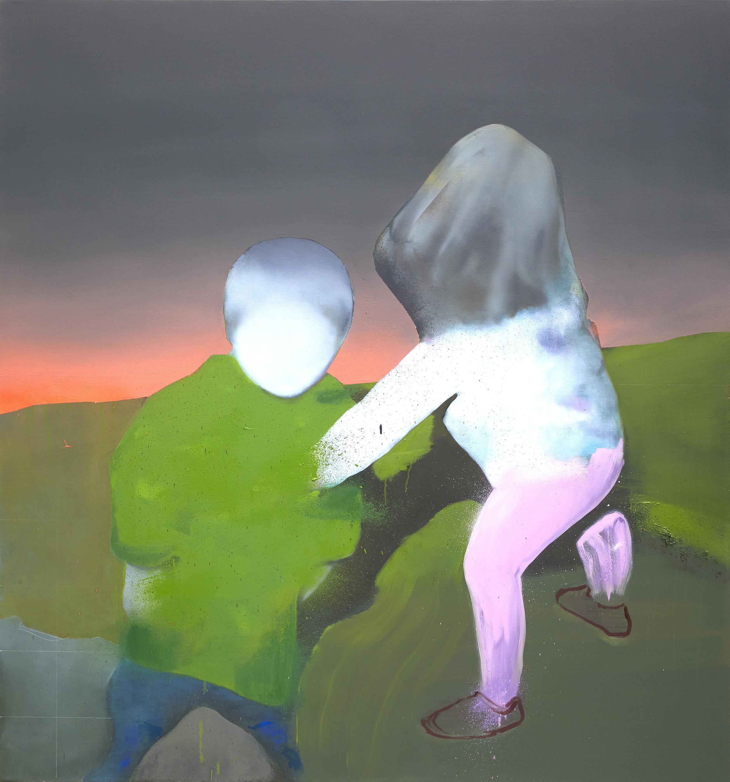 """""""Hey Look ! (The Conformist)"""" 56""""x60"""" Oil on Canvas, 2017/18"""