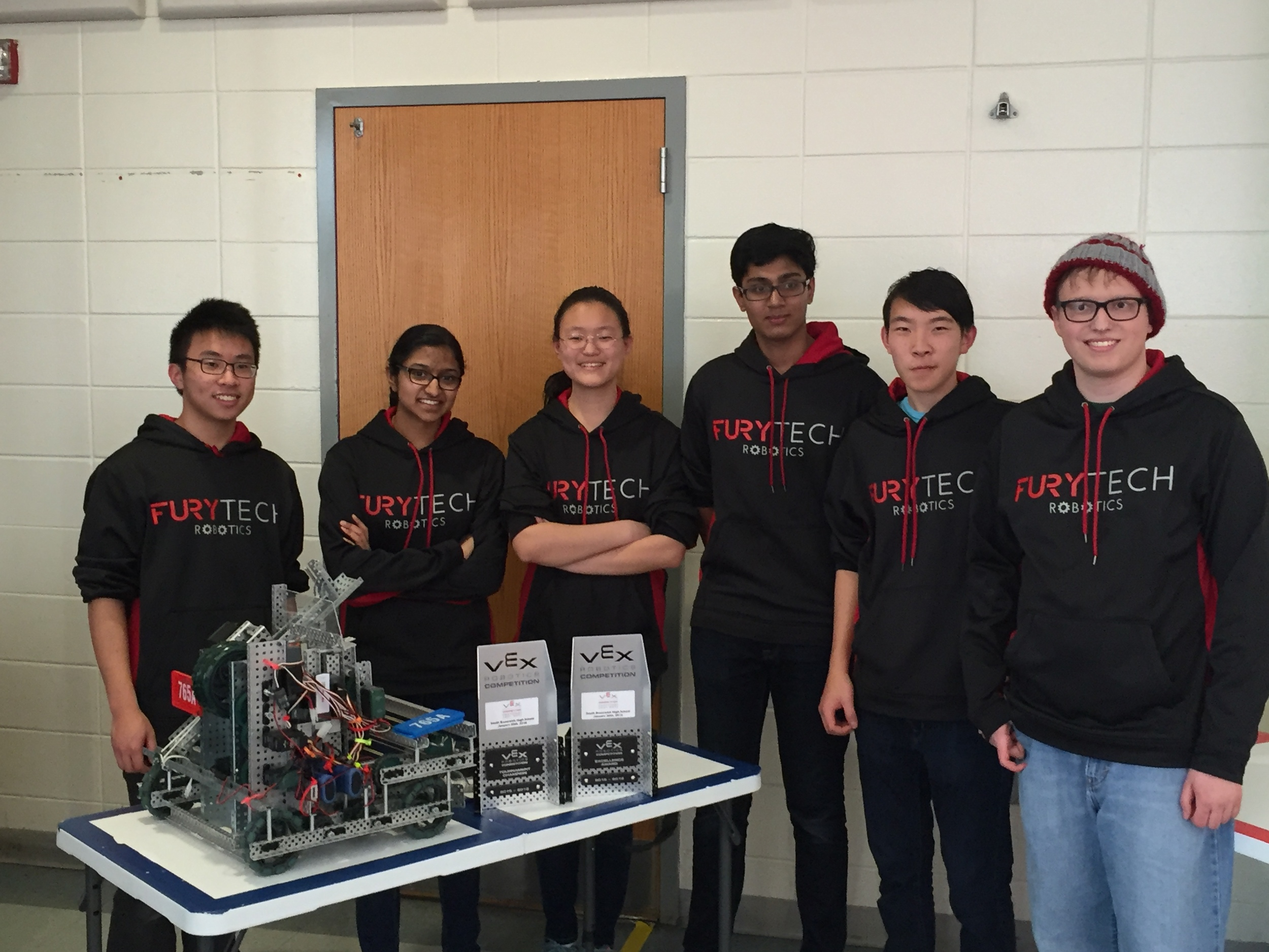 The Vex Robotics Team members from left to right are: Ray Tsa, Anjali Nambrath, Emily Liu, Arvind Yalavarti, Alex Yao, and Matt Ramina.