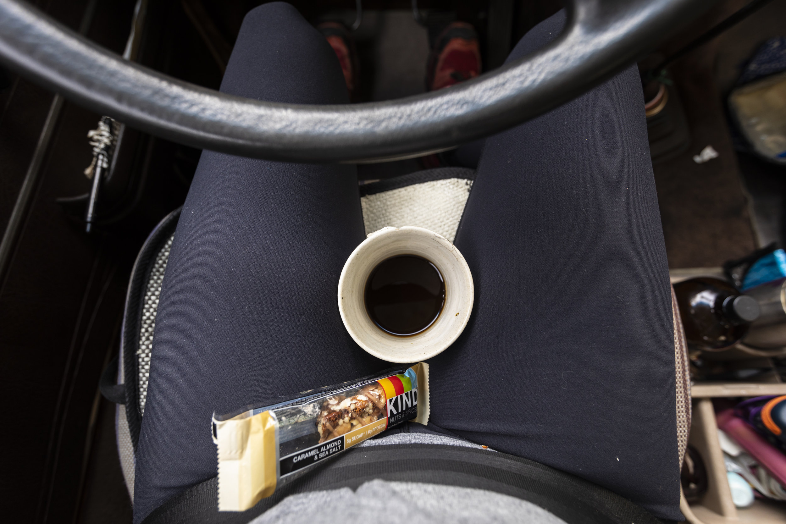 How I roll usually because the cup holder is just too far away, and coffee gets cold too fast.