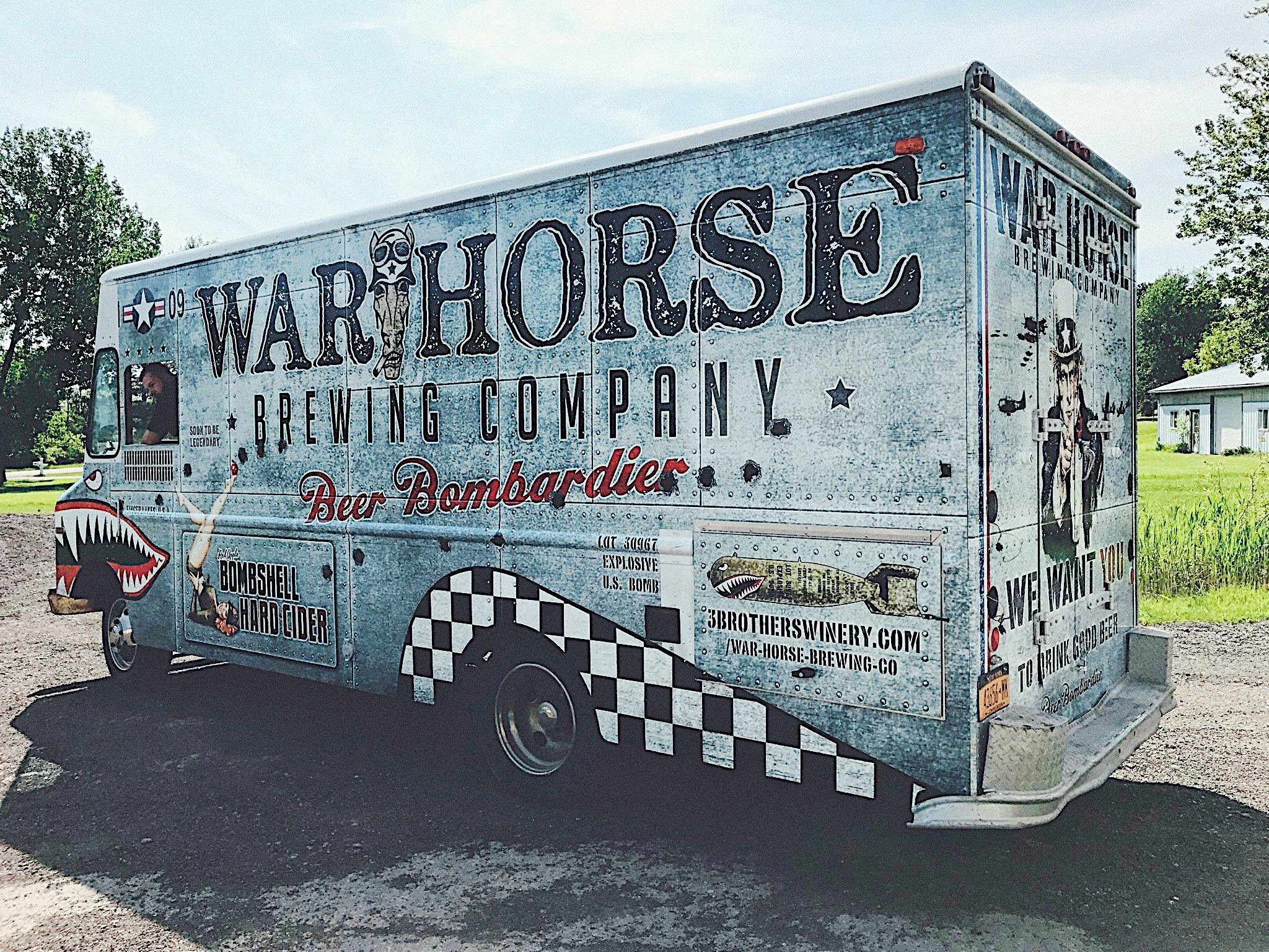 Photo of the side of the War Horse Brewery beer truck