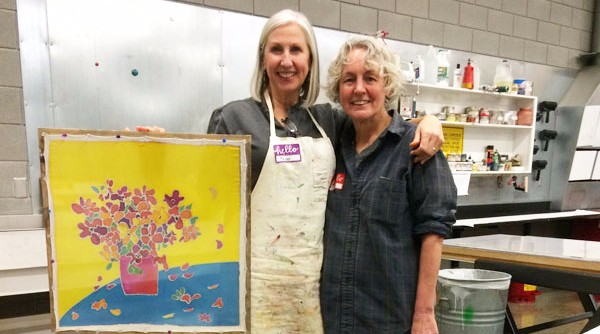 Peggy was very happy with her new silk painting! Columbus State University 2015