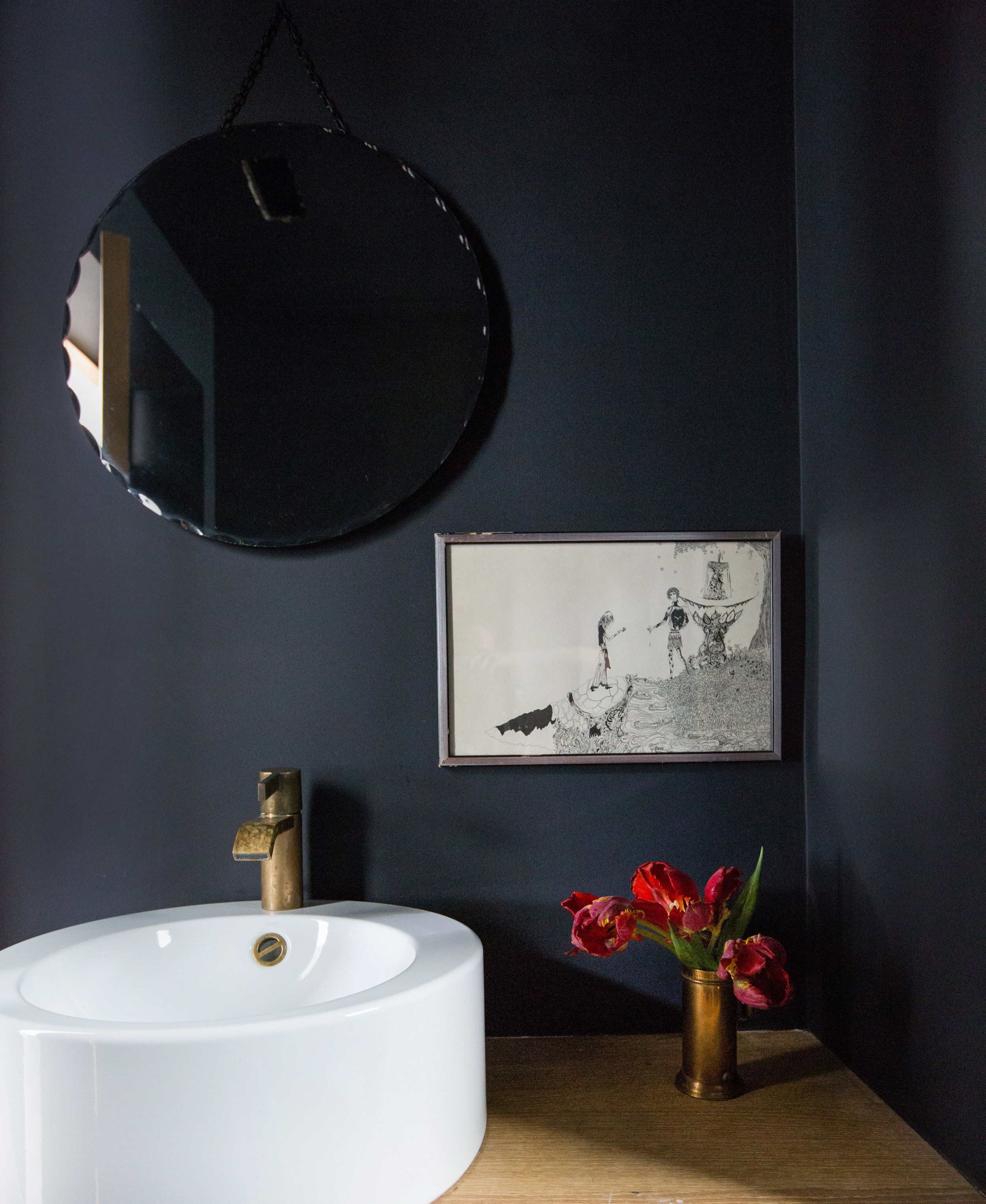 """PICK A BOLD AND MOODY DARK PAINT WITH PORTOLA - Written by Kat McEachernPortola Paints and Glazesis known for its rich pigmented colors. The company was founded by brothers Jamie and Casey Davis in 1998 when their father Jim Davis, a high-end contractor in Los Angeles, imported lime wash from Europe for a project he was building. """"He was struck by the power and beauty of the texture and colors, and from there we began working to create a line of unique specialty finishes."""" Over time they've become equally known for their acrylic paints and colors, so we wanted to learn more from Jamie and Casey about how dark, moody colors can set the mood for a room.""""Dark paint can do so many things, it evokes emotion and can bring romance and a sense of mystery to a room. Color has a wonderful ability to transport you through multiple sensations and feelings."""" The guys do have some words of advice for those considering a dark color.full story"""