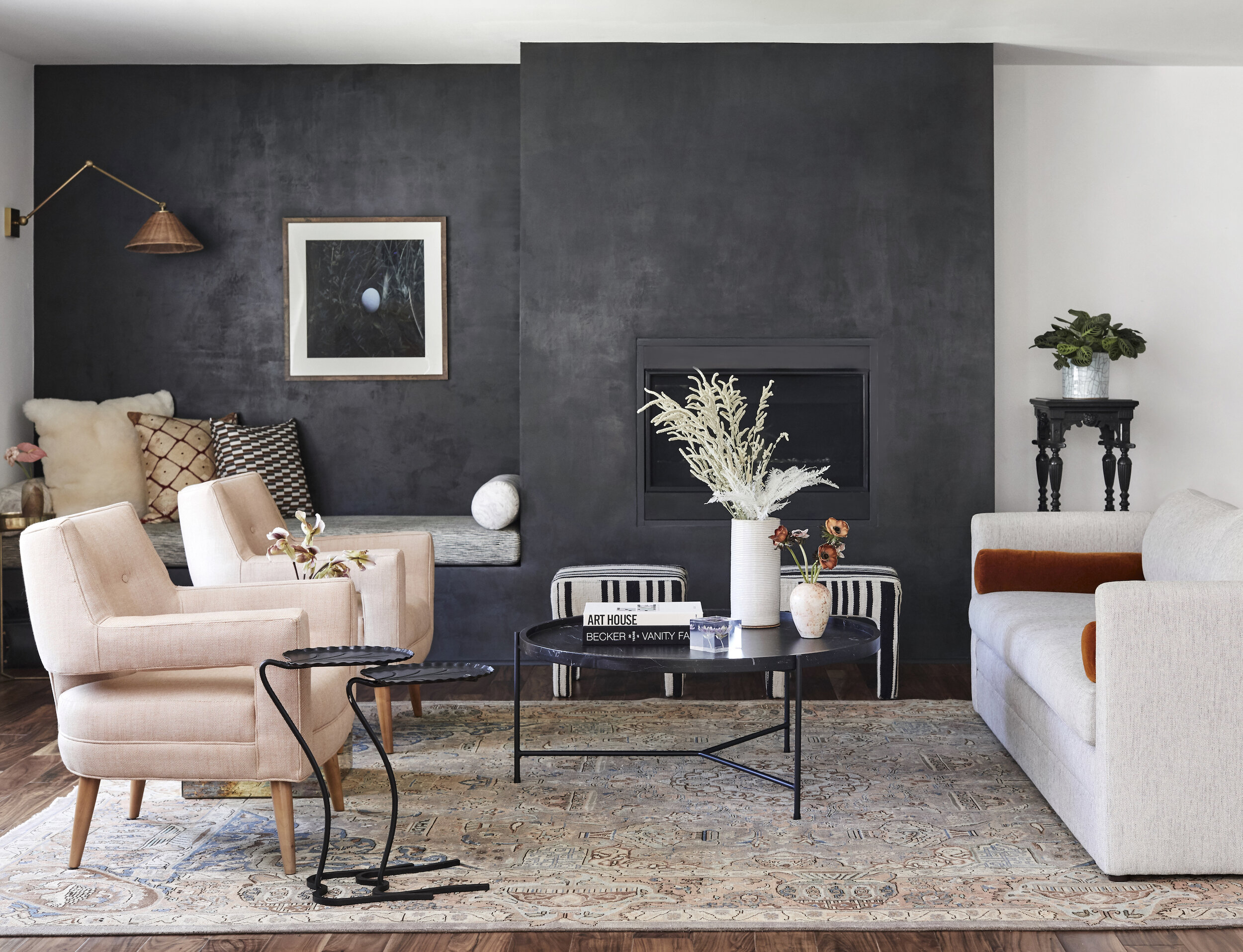 Living room interior by stefani stein with fade to black roman clay walls photography by jenna peffley