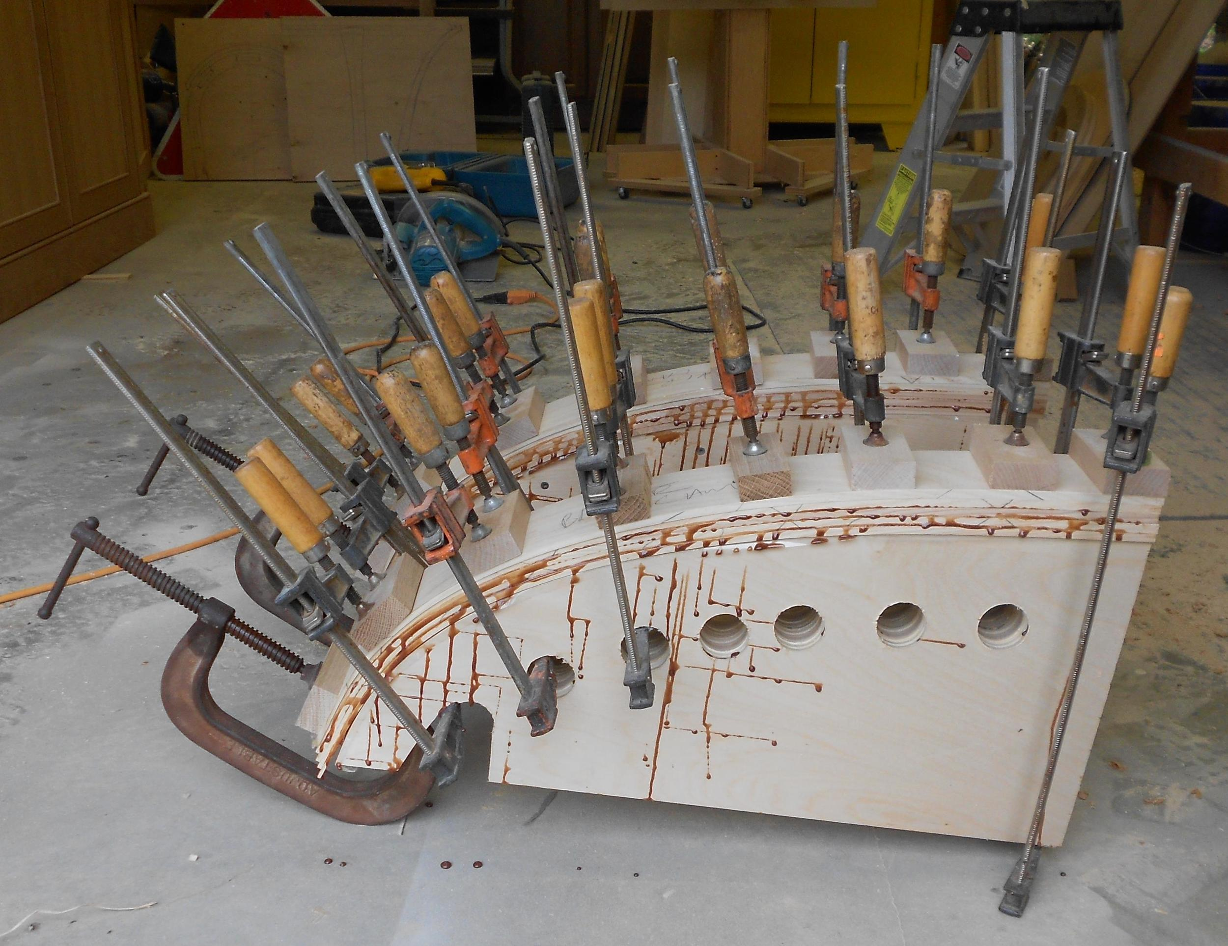 Brockport commission 3 clamped and letting glue cure before removing from jig.jpg