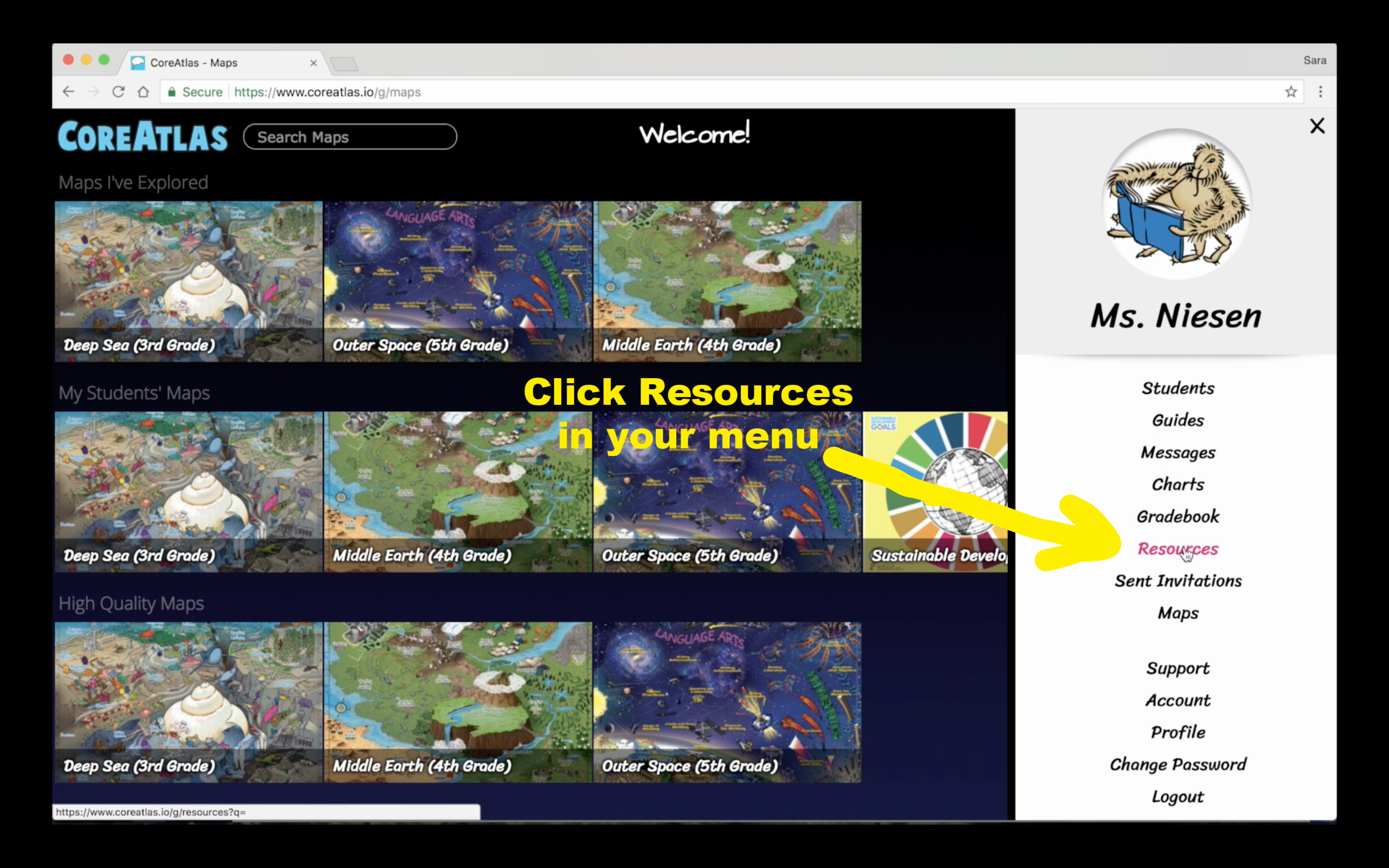 1. Open your Main Menu by clicking your avatar (top right of screen). Click Resources.