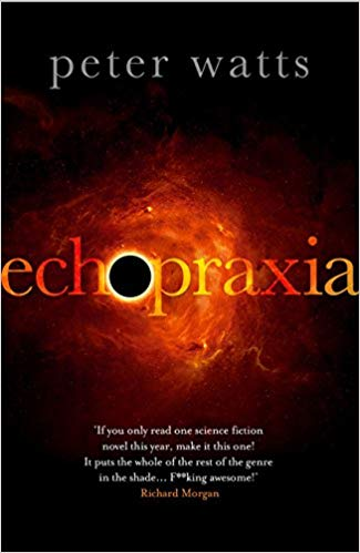 EchoPraxia - SYNOPSISIt's the eve of the twenty-second century: a world where the dearly departed send postcards back from Heaven and evangelicals make scientific breakthroughs by speaking in tongues; where genetically engineered vampires solve problems intractable to baseline humans and soldiers come with zombie switches that shut off self-awareness during combat. And it's all under surveillance by an alien presence that refuses to show itself.Daniel Bruks is a living fossil: a field biologist in a world where biology has turned computational, a cat's-paw used by terrorists to kill thousands. Taking refuge in the Oregon desert, he's turned his back on a humanity that shatters into strange new subspecies with every heartbeat. But he awakens one night to find himself at the center of a storm that will turn all of history inside-out.Now he's trapped on a ship bound for the center of the solar system. To his left is a grief-stricken soldier, obsessed by whispered messages from a dead son. To his right is a pilot who hasn't yet found the man she's sworn to kill on sight. A vampire and its entourage of zombie bodyguards lurk in the shadows behind. And dead ahead, a handful of rapture-stricken monks takes them all to a meeting with something they will only call