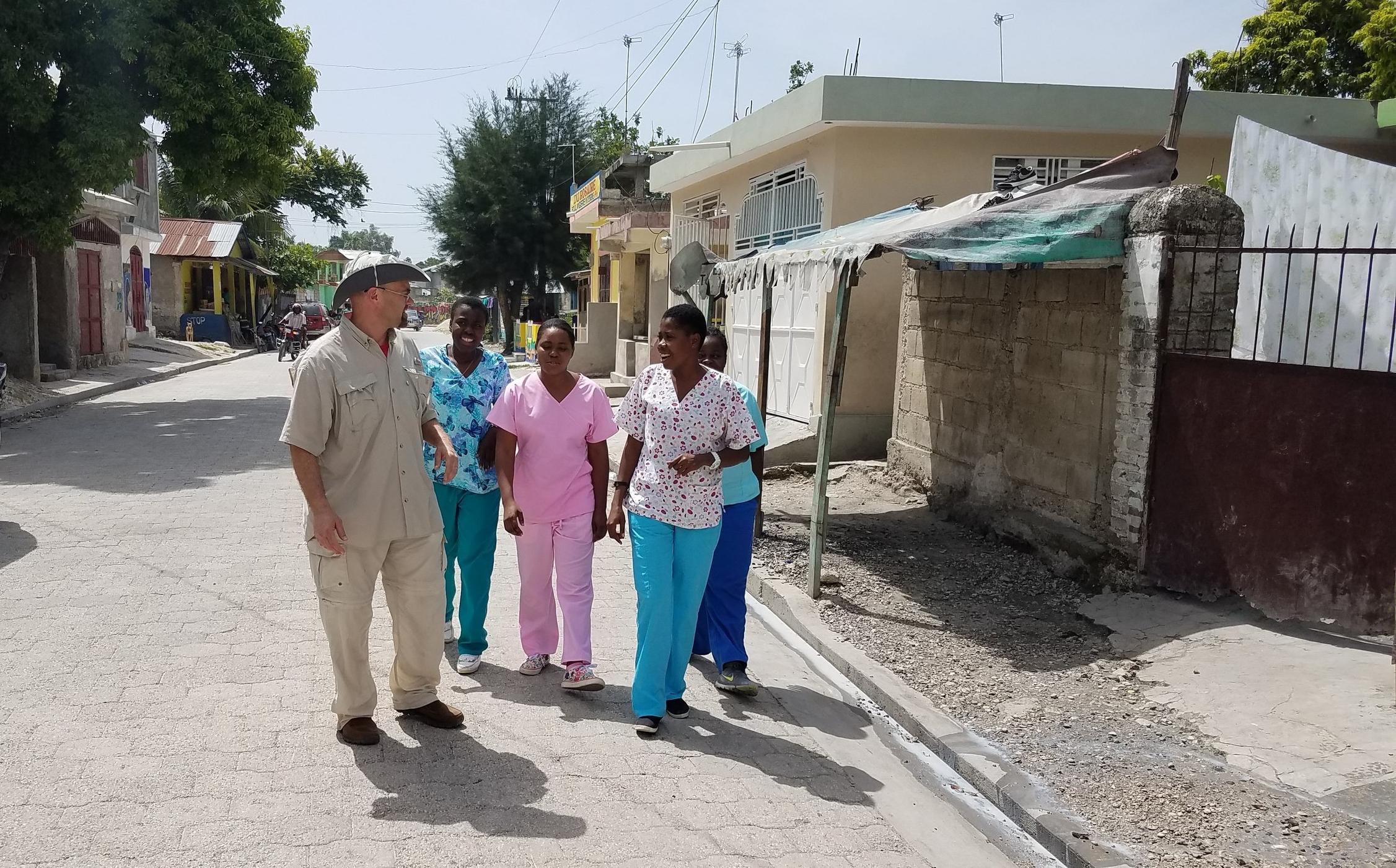 Nurses taking a walk through town