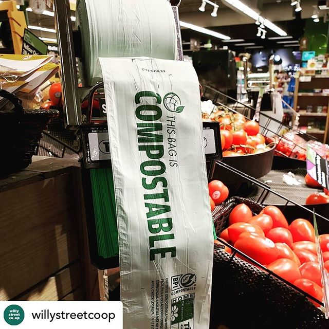 "Excited to see @willystreetcoop helping reduce plastic waste! #slowfood #lessplastic #plasticfree *********** • @willystreetcoop We are pleased to announce we now have bioplastic produce bags available at our stores! These come in a roll like traditional plastic produce bags, but they are certified for home composting! The bags are made of a material called Mater-bi, which is a Italian bioplastic made up of ""starches, cellulose, vegetable oils and their combinations."" #compost #zerowaste #sustainability"