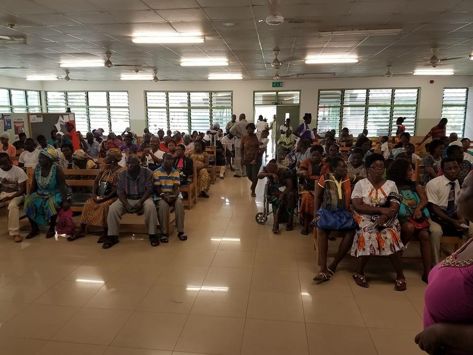 Waiting to be seen to see if we can help them. Every day the waiting area was filled to capacity.