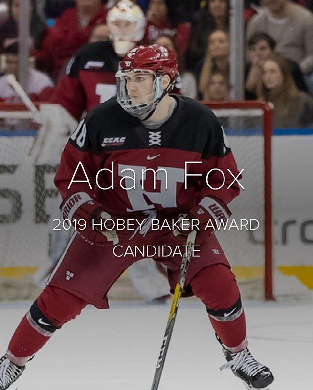 Good luck to I3E athlete Adam Fox @foxyclean tonight at the #hobeybaker Regardless of the outcome, a very impressive accomplishment.  #hockey #hockeystrong #ncaahockey #harvard
