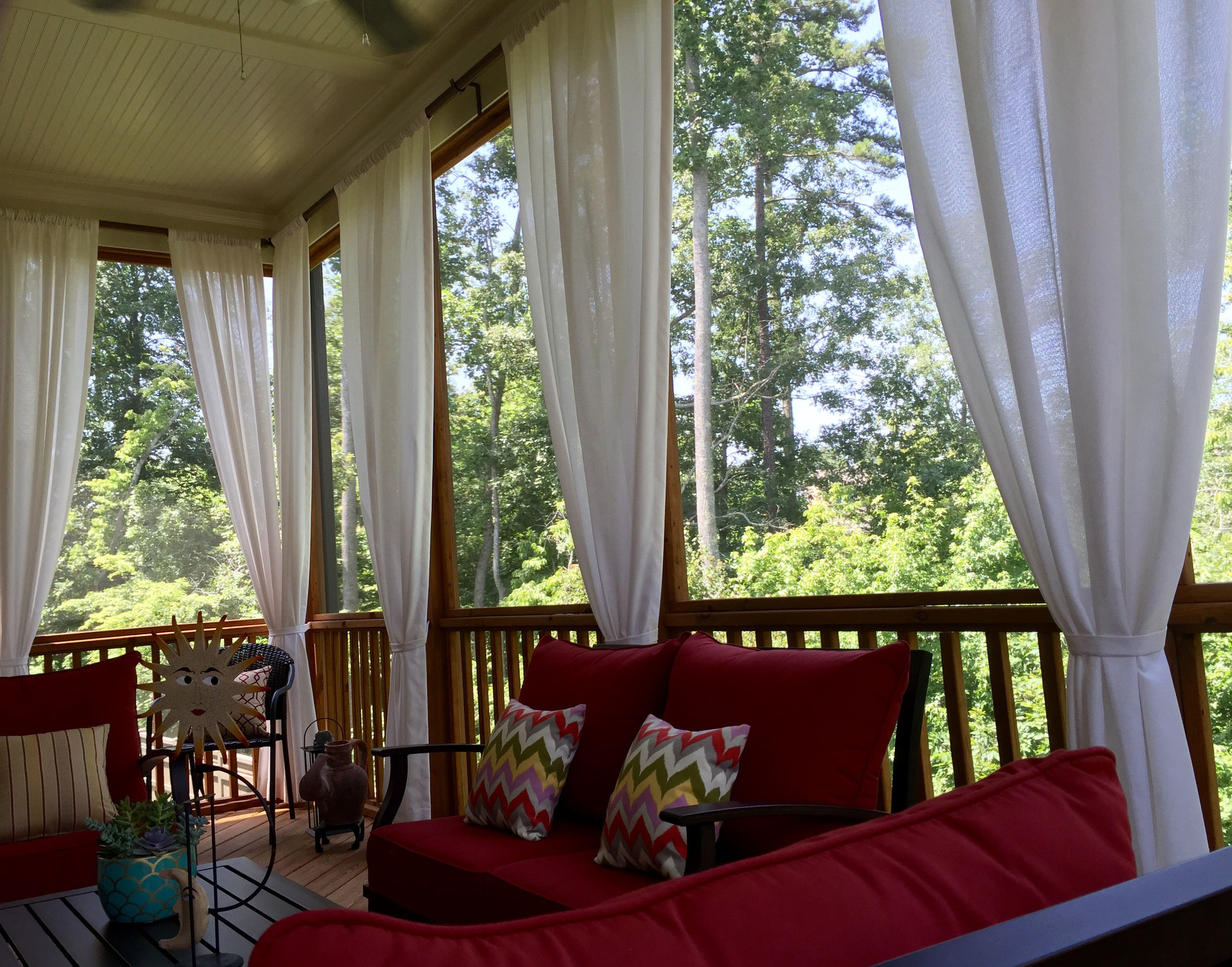 Porch with outdoor curtains