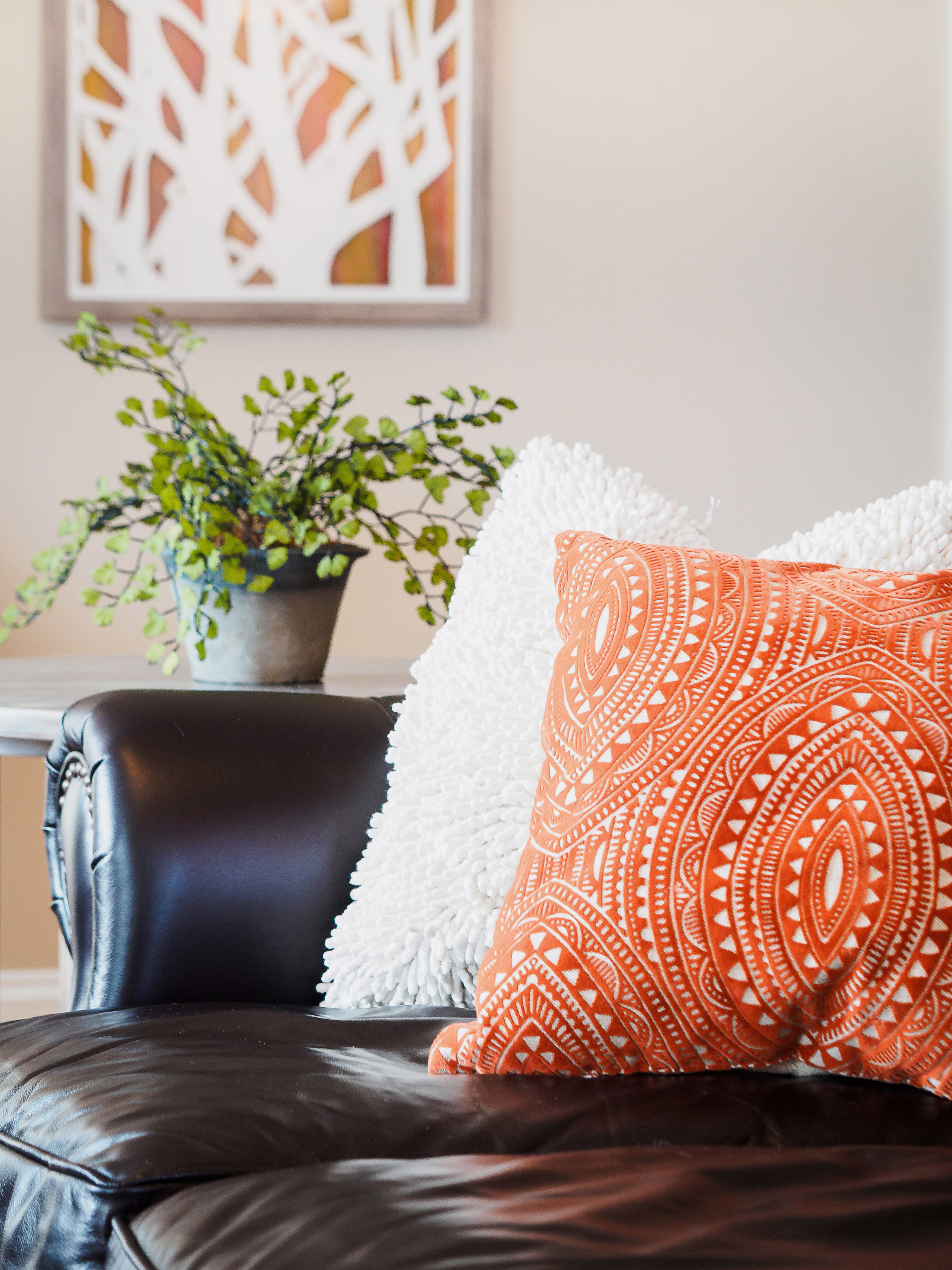 Pop of coral in pillow