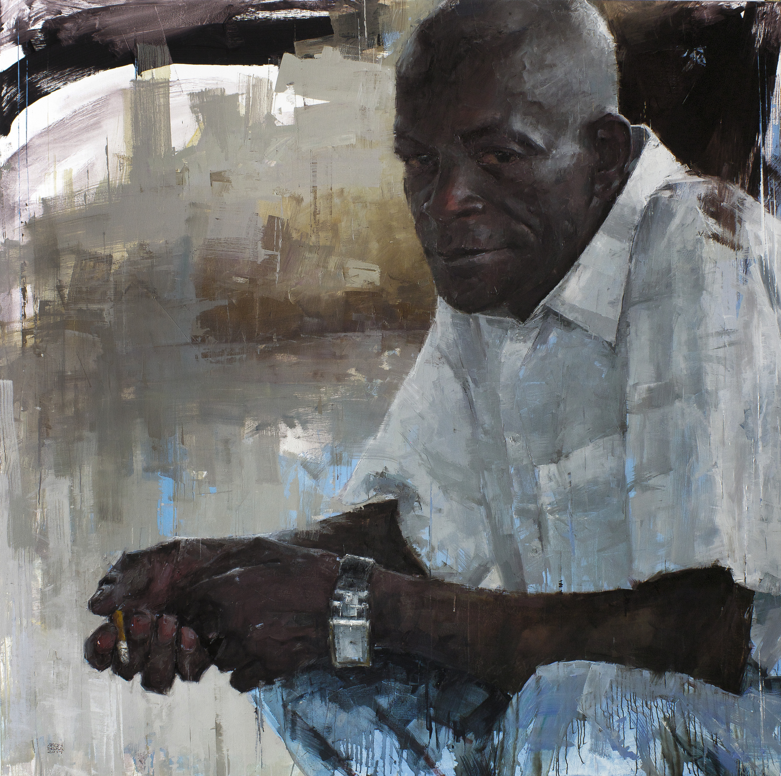 Papeh Sow   2014 72 x 72 inches oil on canvas