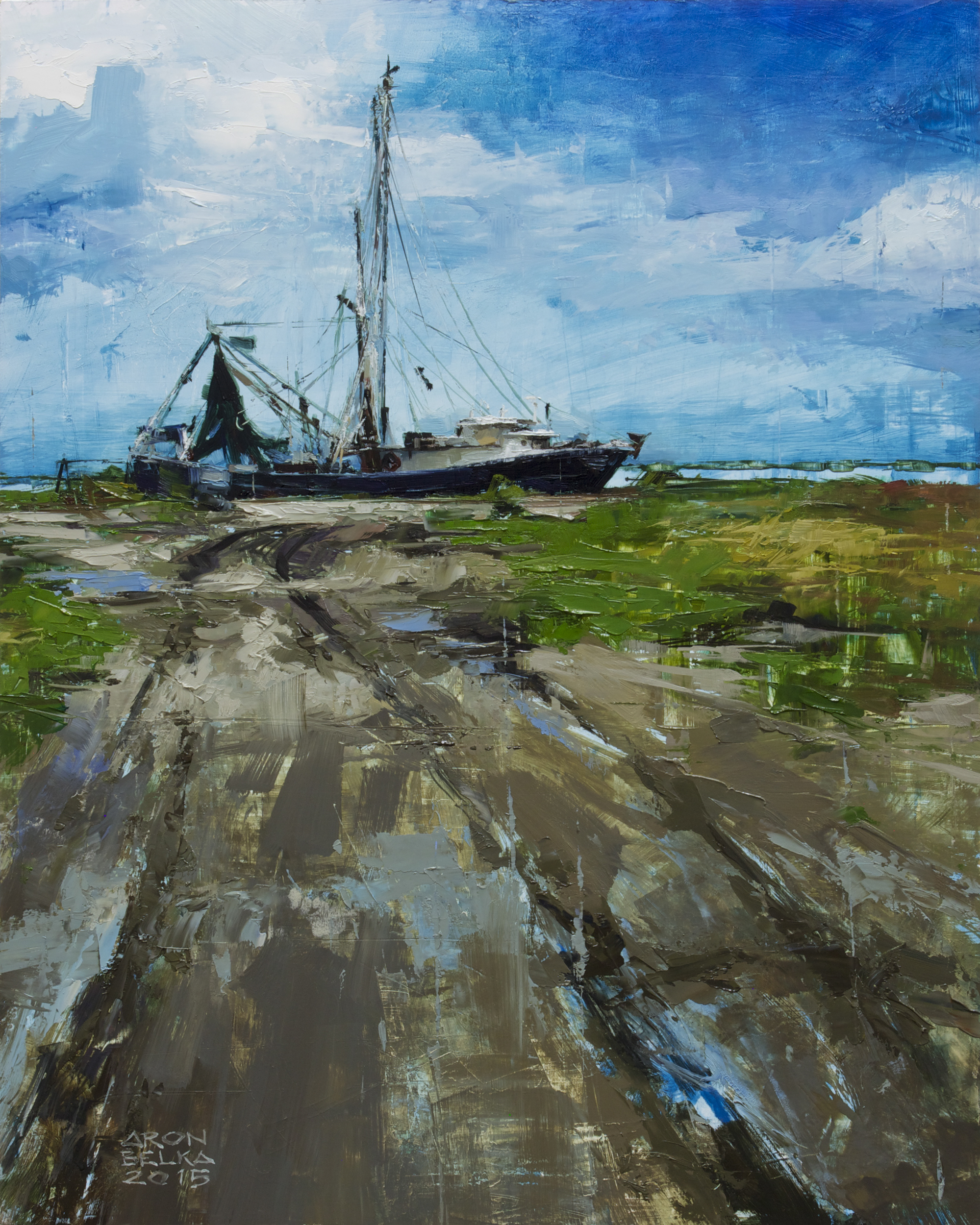 Grand Isle Shrimper    2015 20 x 16 inches   oil on wood