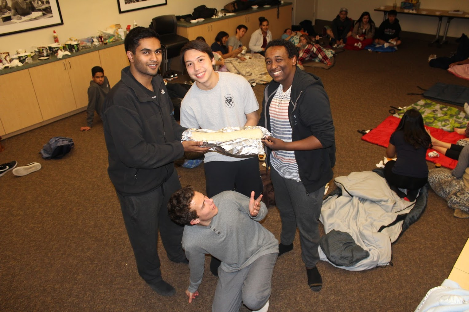 The boys in room Dabbin' Debaters decided to spilt a massive Burritozilla.