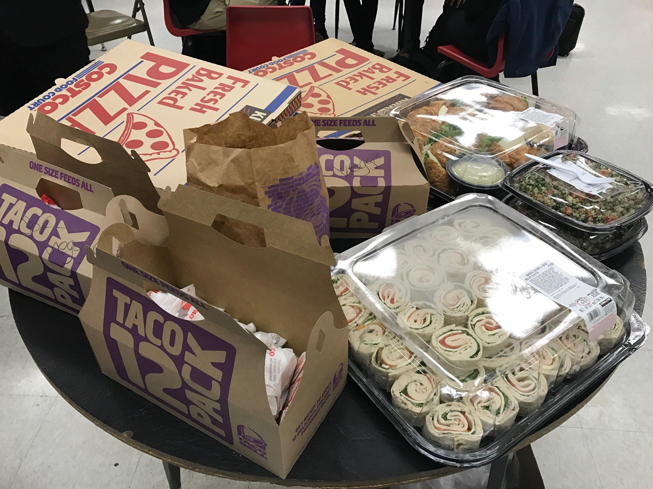 Taco bell, pizzas, salad, wraps, sandwiches! YUM!