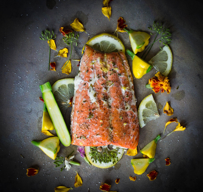 Serve garnished with sea salt, black pepper, olive oil.