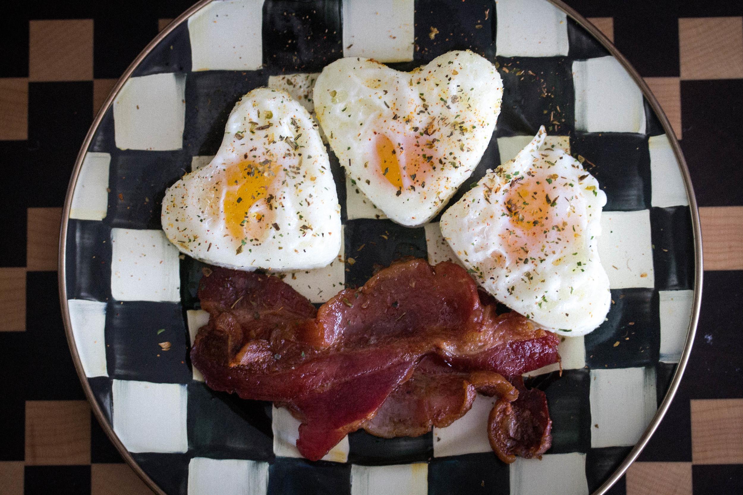 Healthy breakfast of Farm Fresh Eggs and bacon