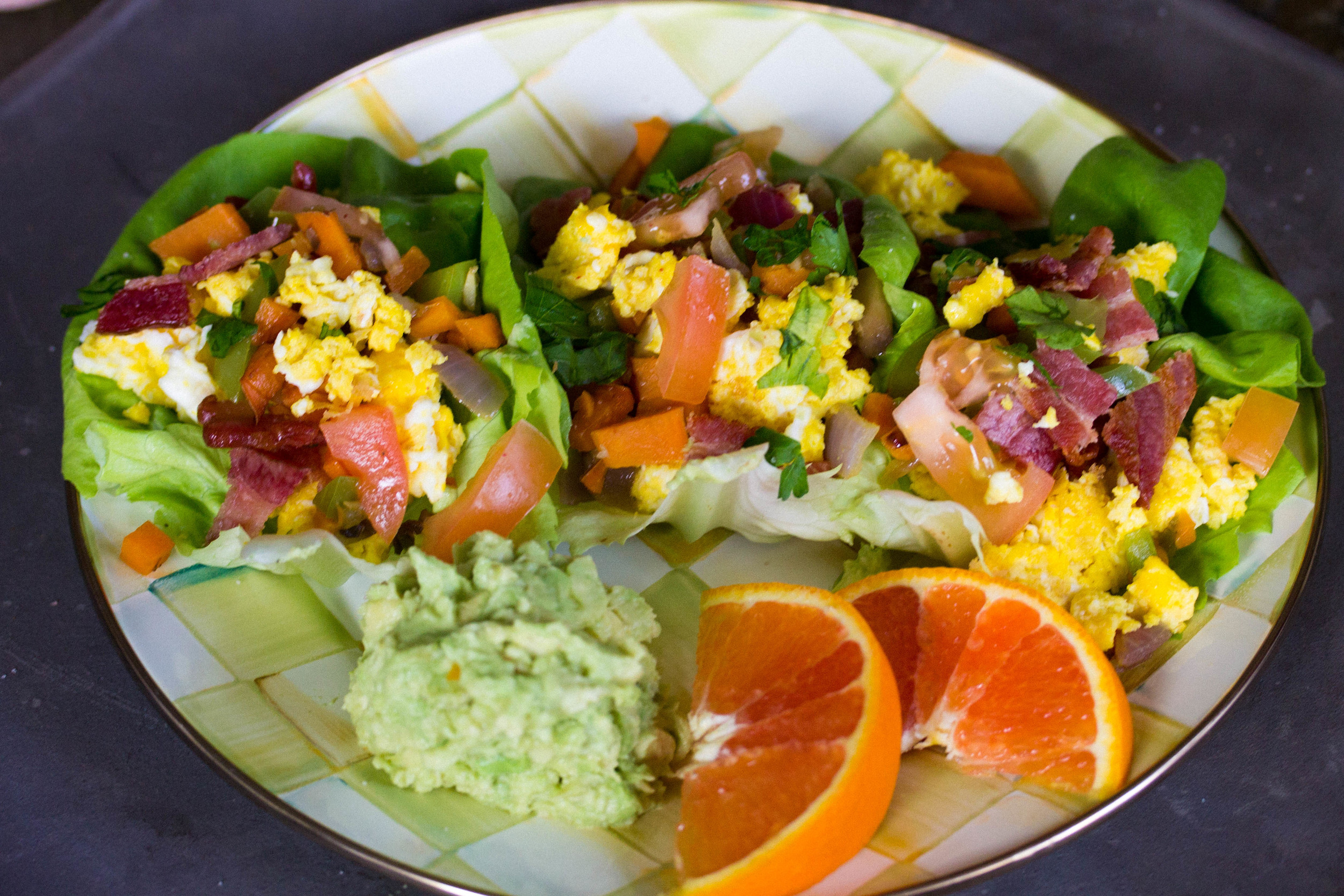 Serve with mashed avocados and oranges