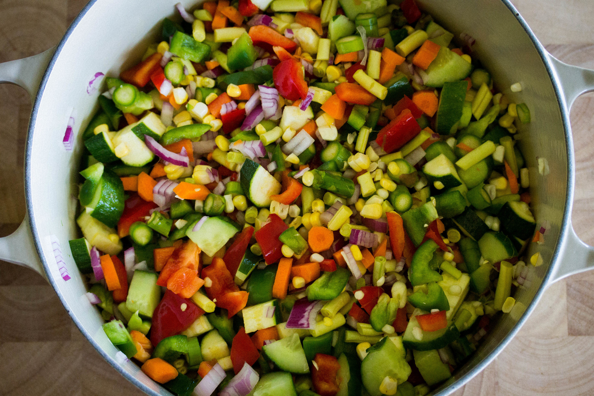 Finely chop veggies and add them to a large pot
