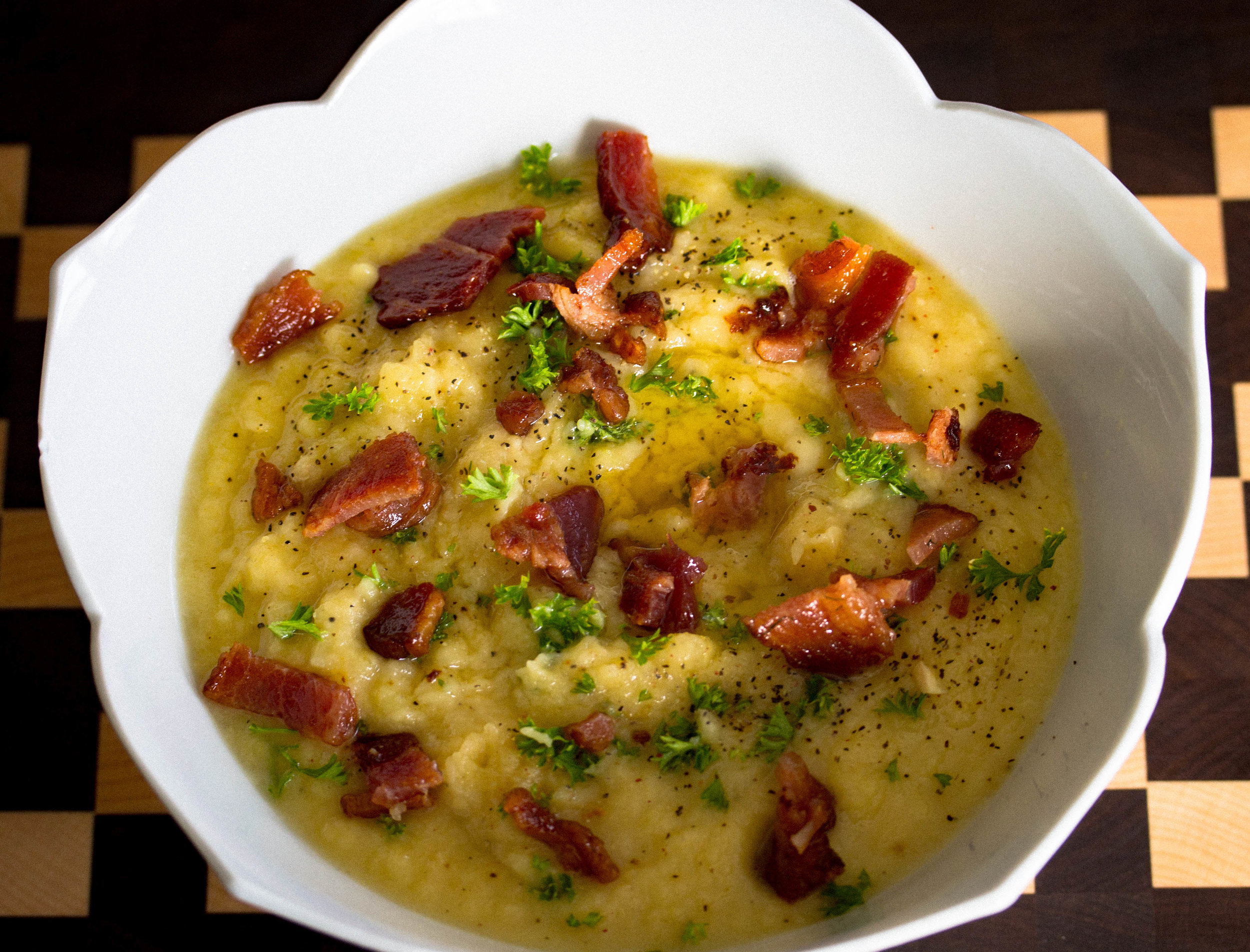 My take on the classic potato leek soup: Rutabaga Leek Soup topped with Bacon