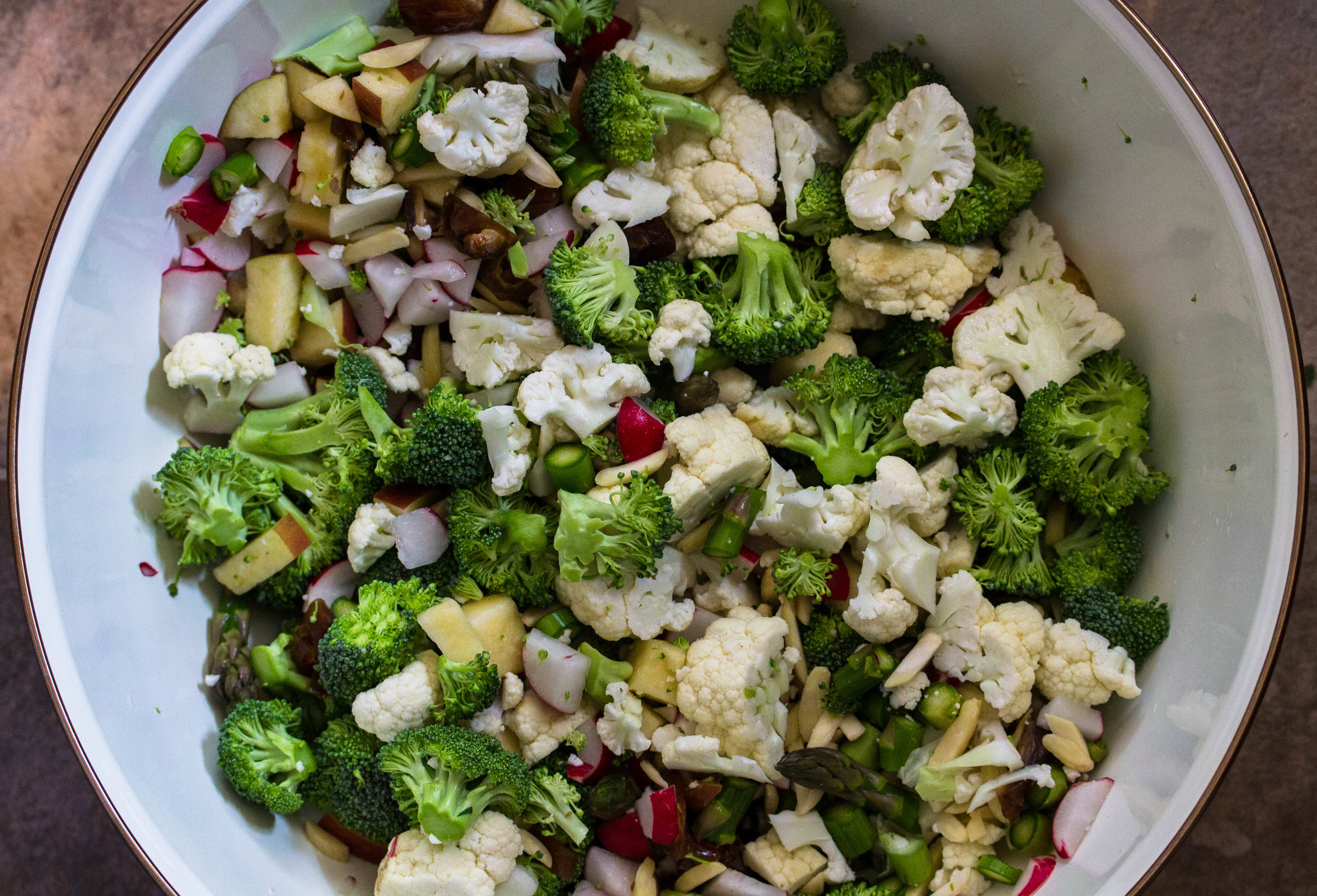 Add chopped ingredients to bowl