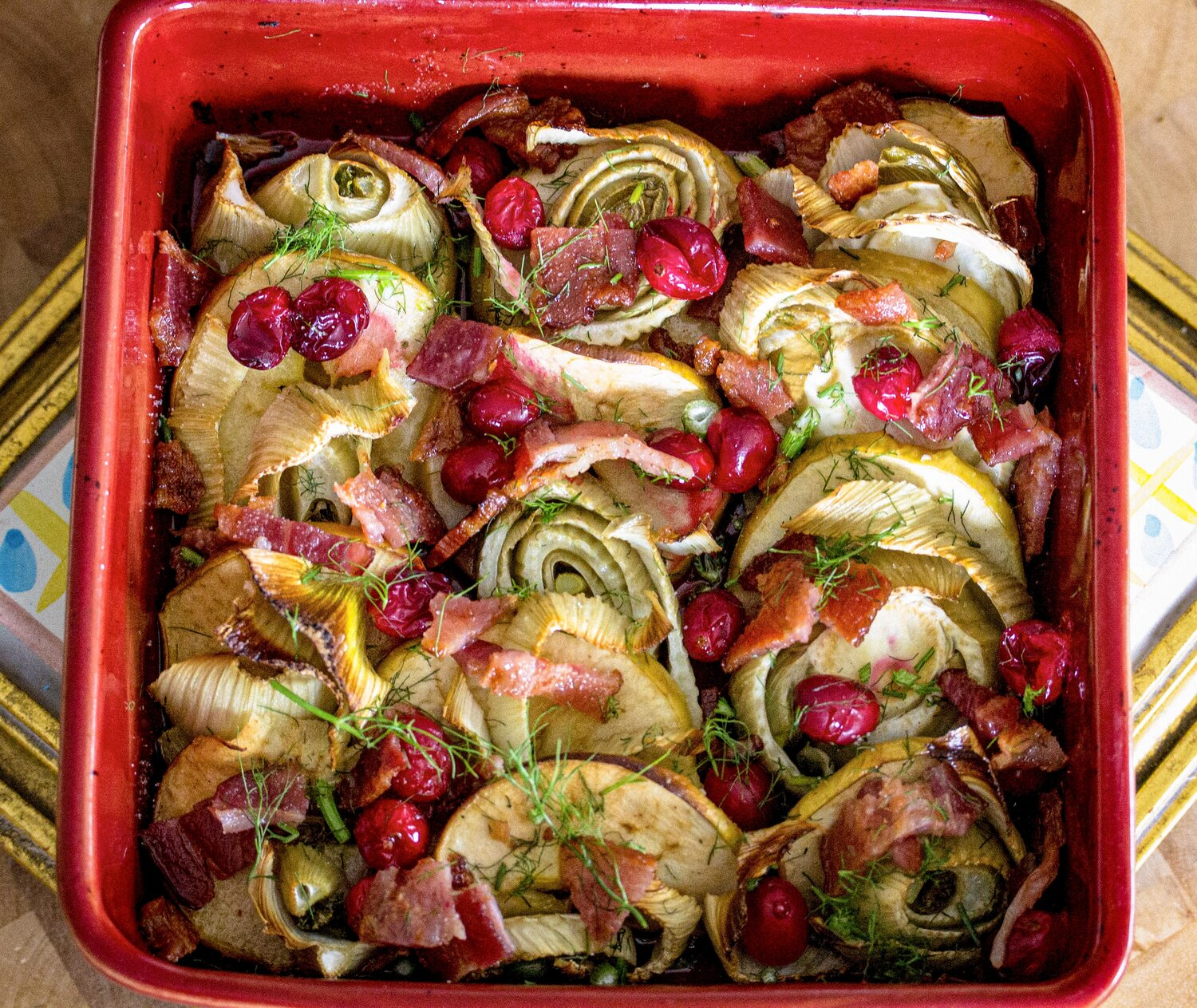 Roasted Fennel Apple With Cranberry Bacon Fairy Gutmother