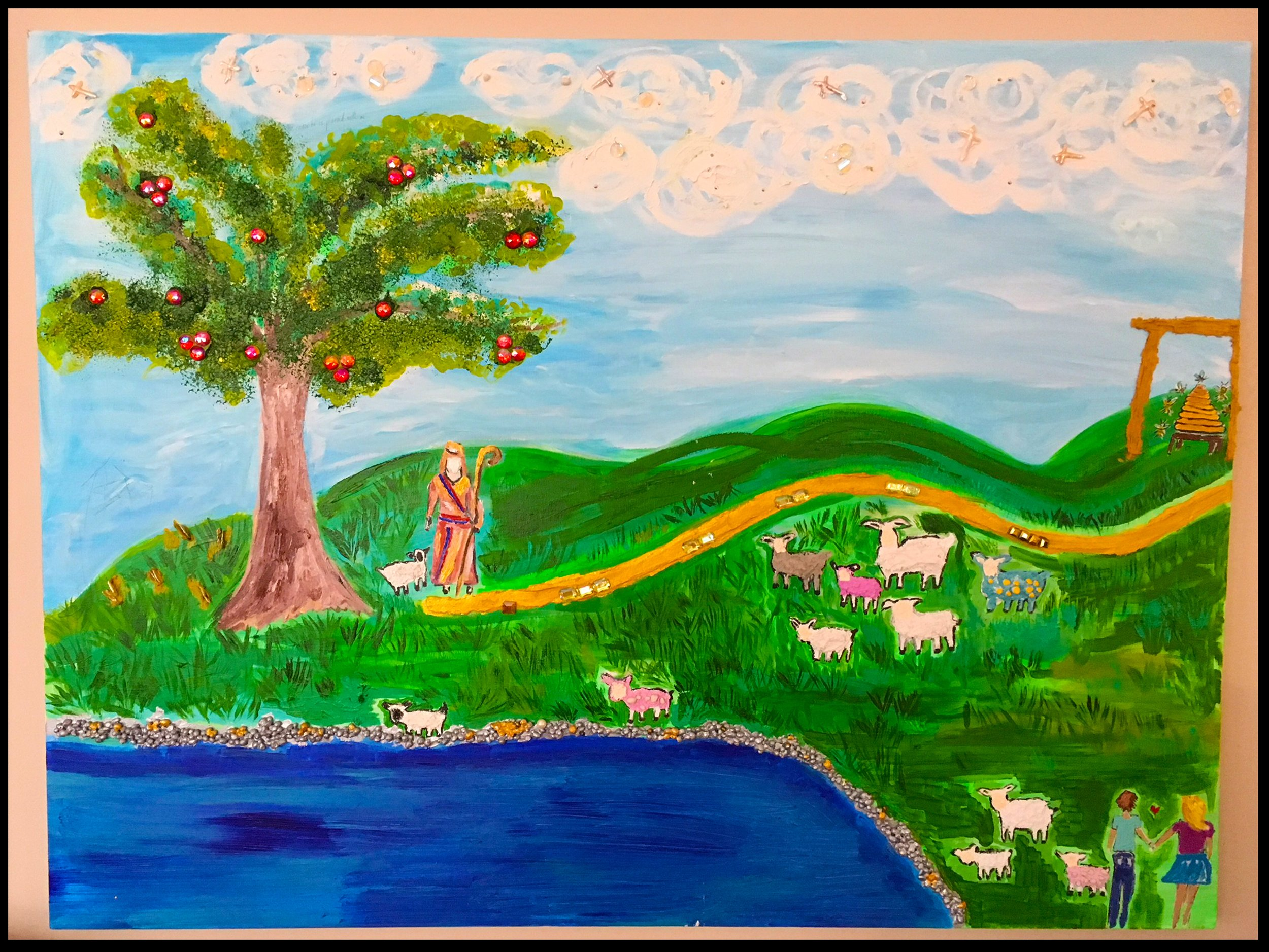 "painting of psalm 23 by Cydney Mariel Galbraith. Titled ""wide open spaces"""