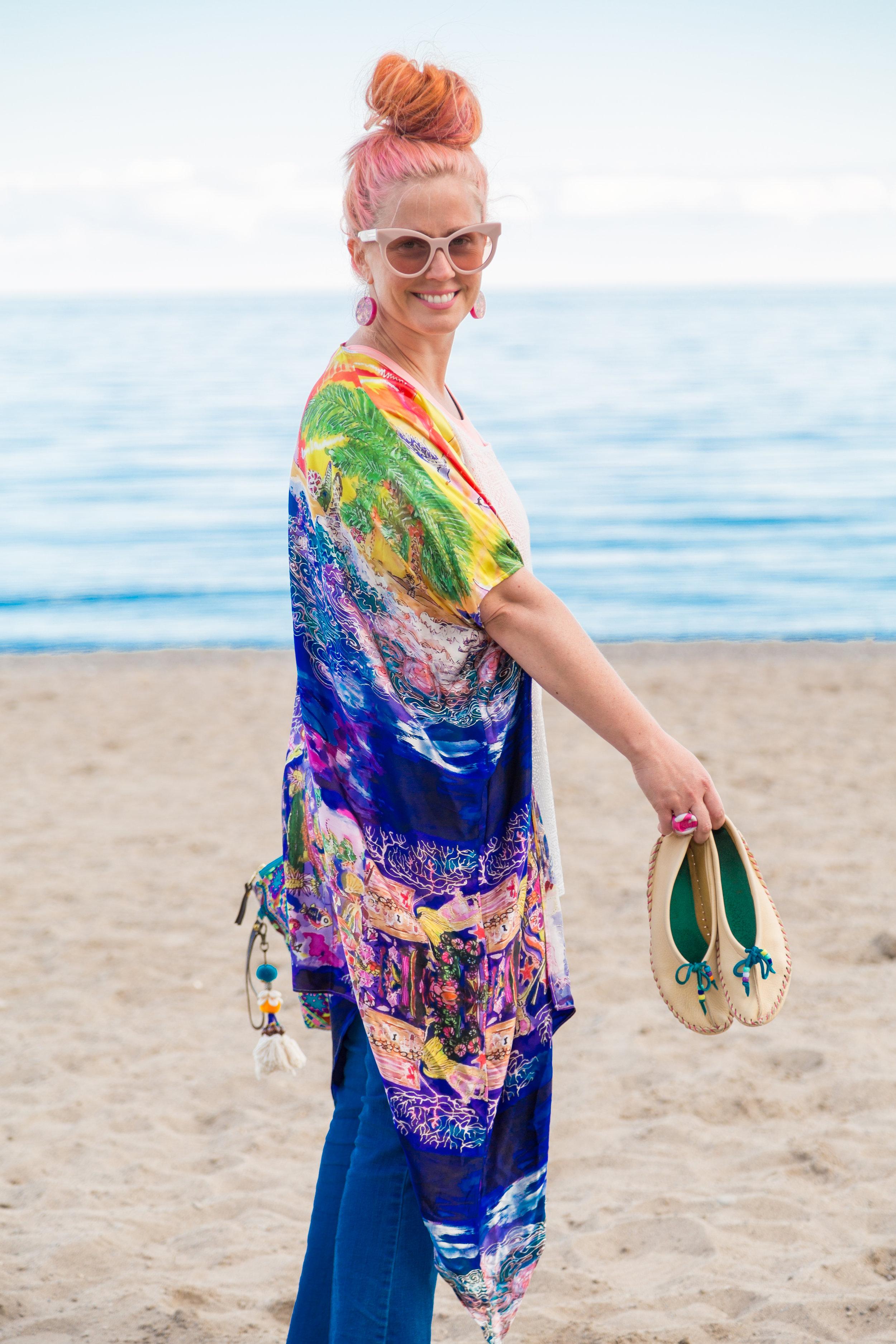 "Tiffany Pratt, HGTV CANADA modeling her ""Treasure beach kimono"" - (custom design by Cydney)"