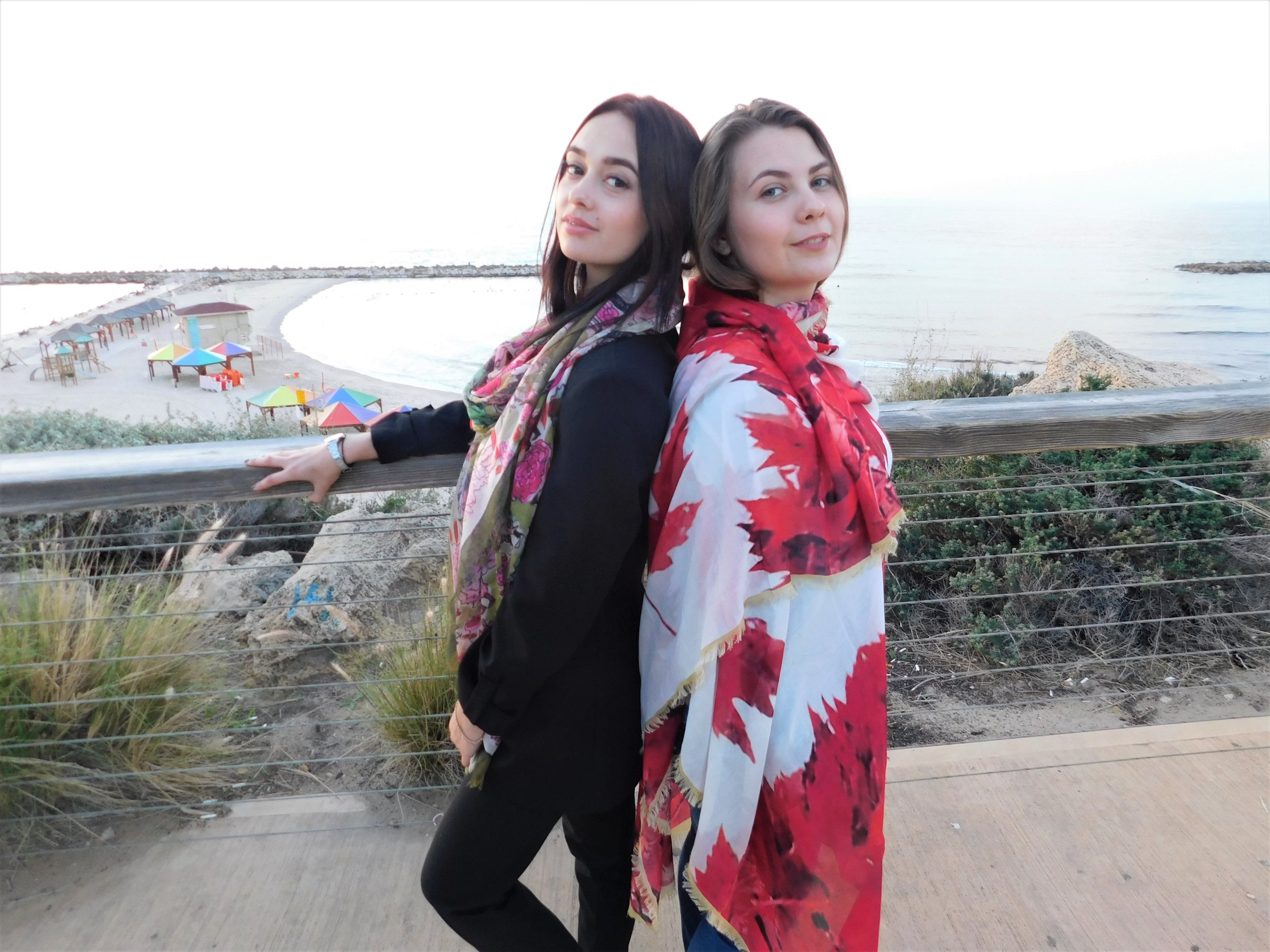 Tel Aviv Israel two incredible sisters from Holland in our Luxury Shawls.