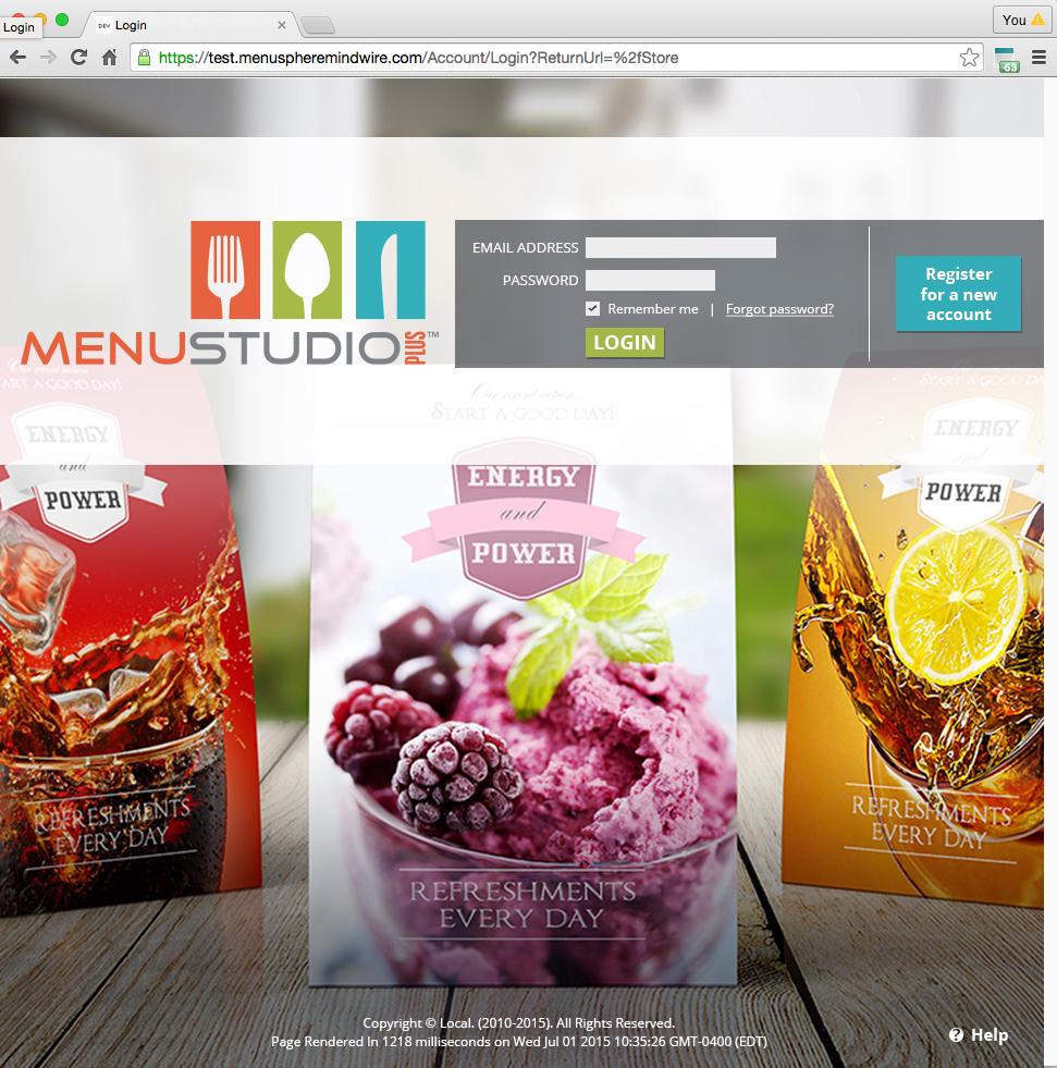 Menu Studio Plus Log-In Page Design