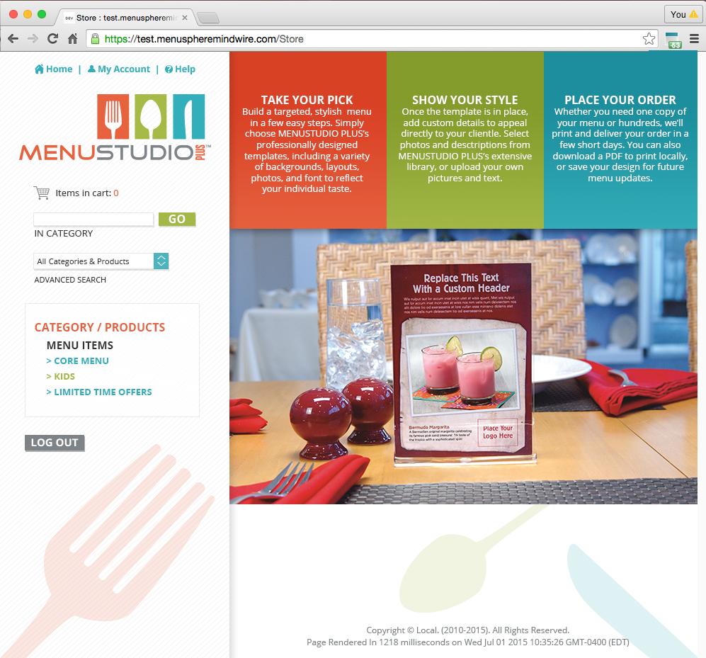 Menu Studio Plus Landing Page Design