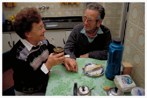 Hermann and Golde Gerson, married 50 years in Moises Ville, Argentina, share a mate (Argentine herbal tea) in their home after Hermann returns from another long afternoon in the fields. Emulating Moises Ville's founders, the Gersons dedicate themselves to keeping the town's Jewish community institutions running against all odds.